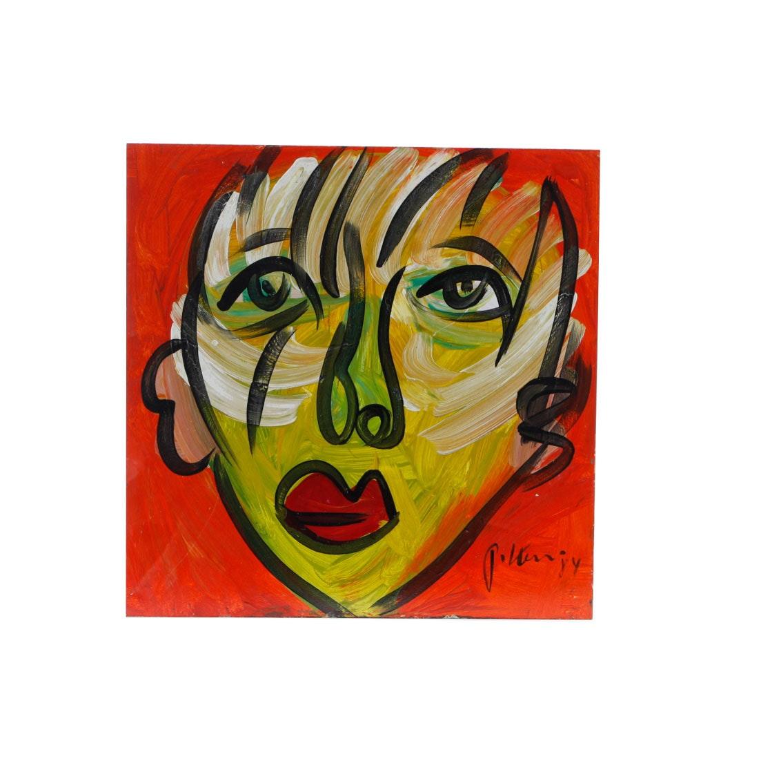"Peter Keil Original 1984 Neo-Expressionist Oil on Board ""A. Warhol"""