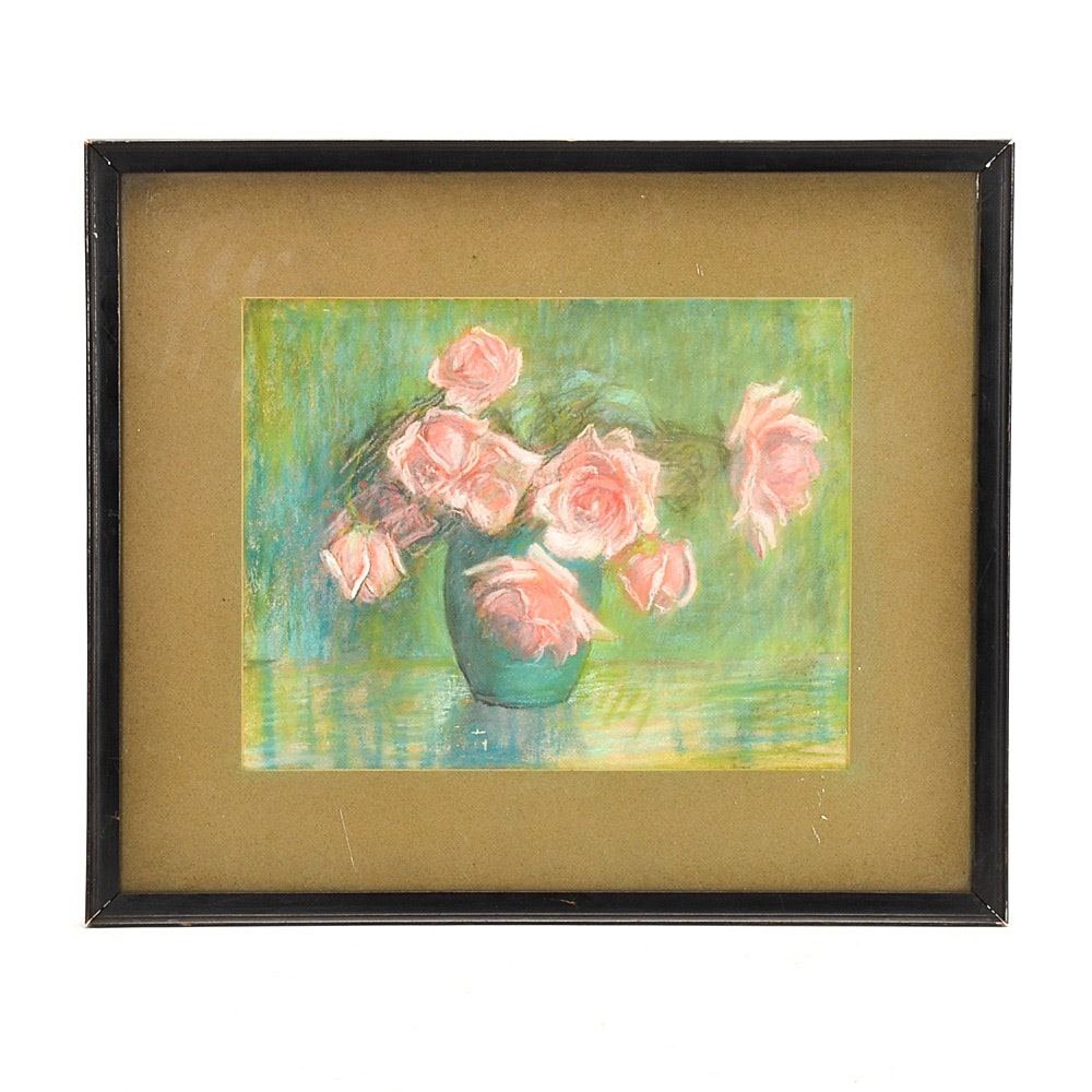 Original Pastel Drawing on Paper of a Vase of Roses