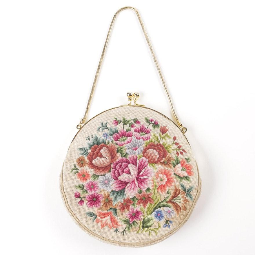 Floral Needlepoint Frame Purse : EBTH