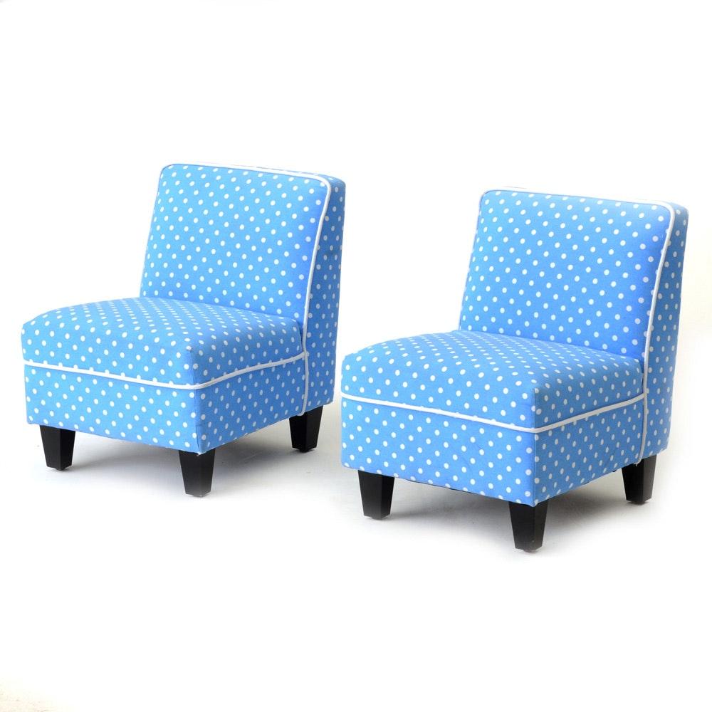Blue and White Polka Dot Children's Chairs