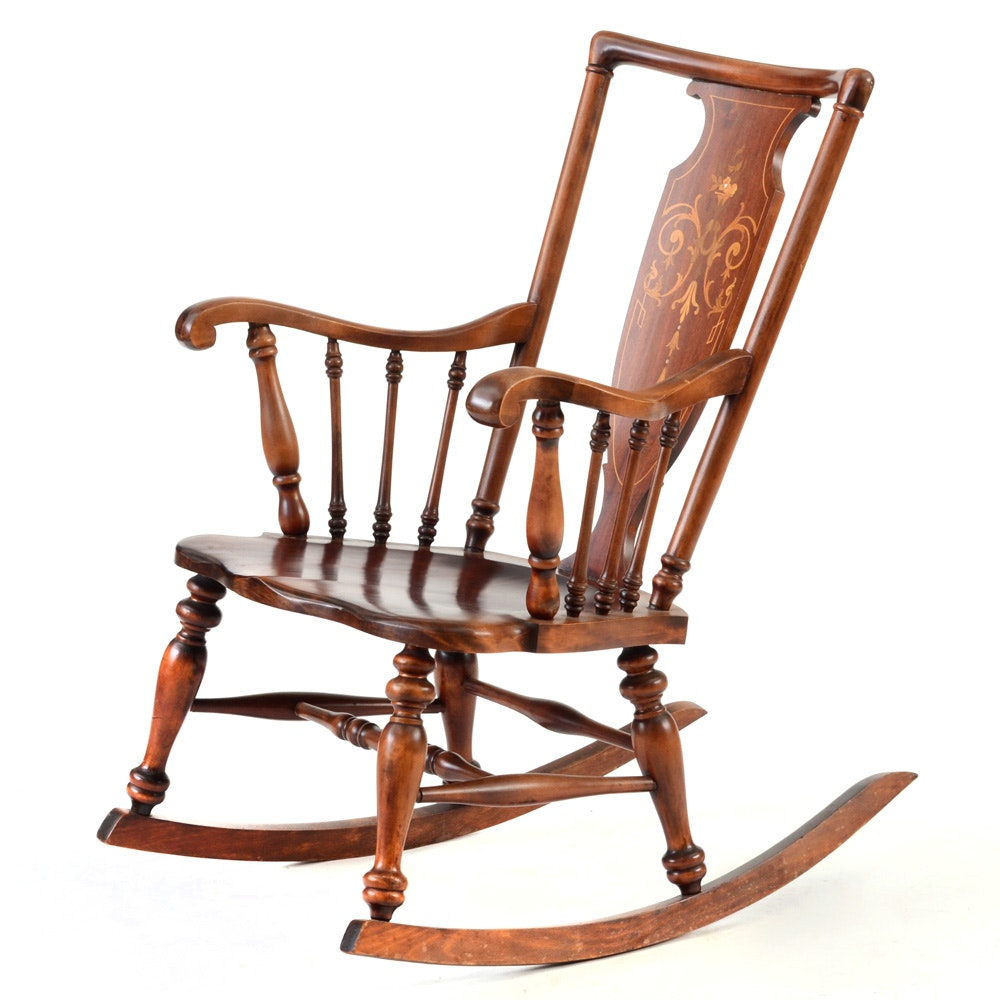 Antique Mahogany Inlaid Rocking Chair by Hubbard Eldredge Furniture Company