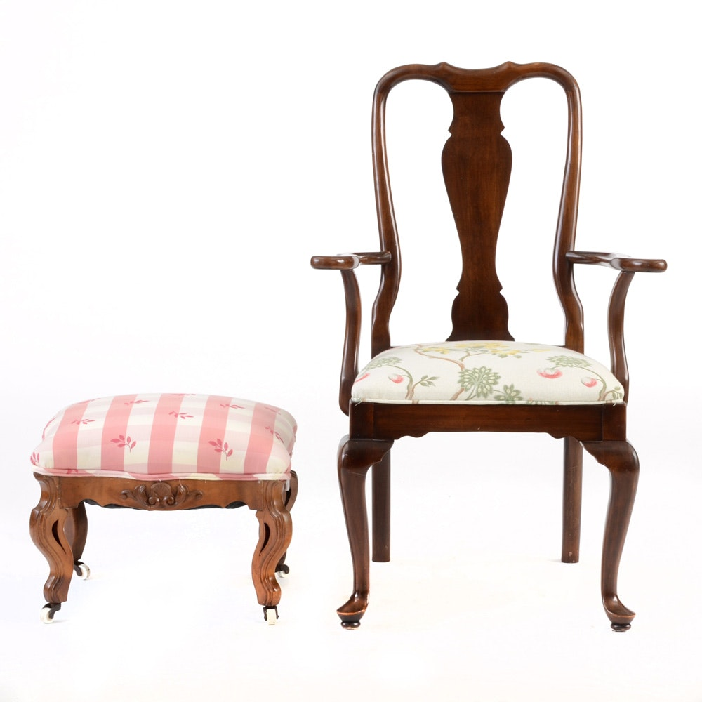 Queen Anne Style Armchair and Footstool