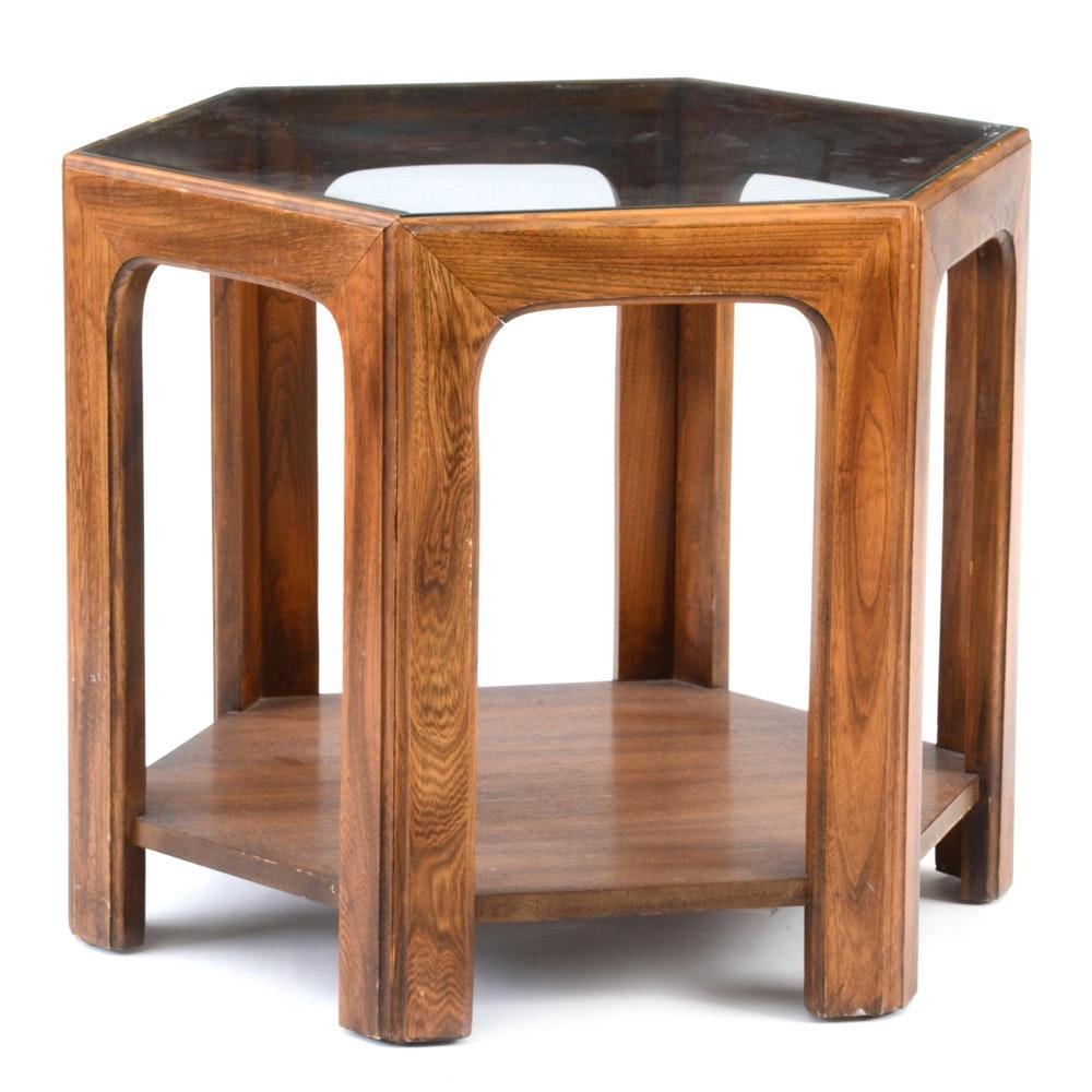 vintage mid century modern hexagonal end table