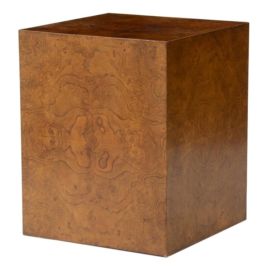 Mid Century Modern Burled Wood Veneer Cube End Table