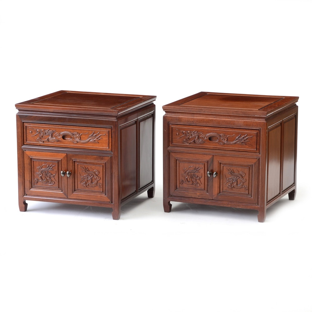 Pair of Asian Style End Tables with Dragon Motif