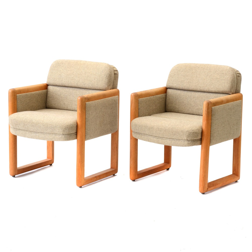 Pair of Modern Beige Armchairs by ASI