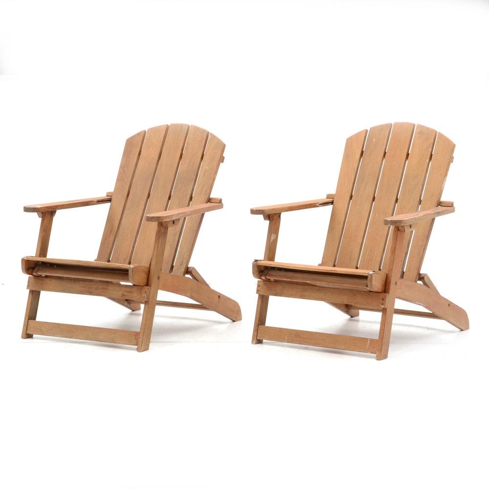 Pair of Folding Adirondack Chairs