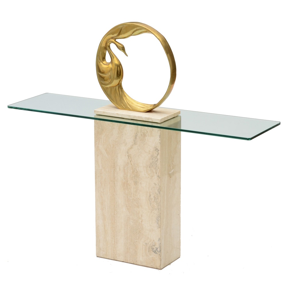 Cast Brass Swan Sculpture with Marble Display Pedestal