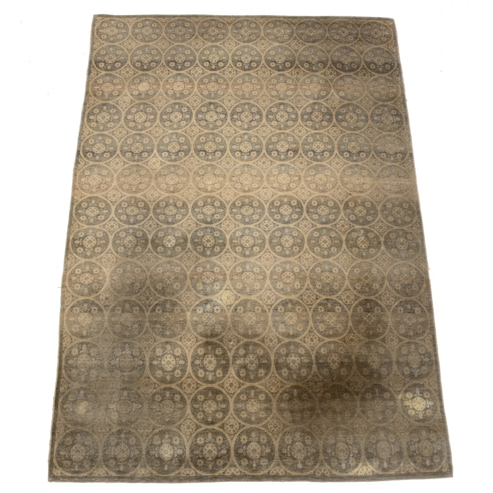Hand-Knotted Contemporary Suzani Style Hand Wool Area Rug