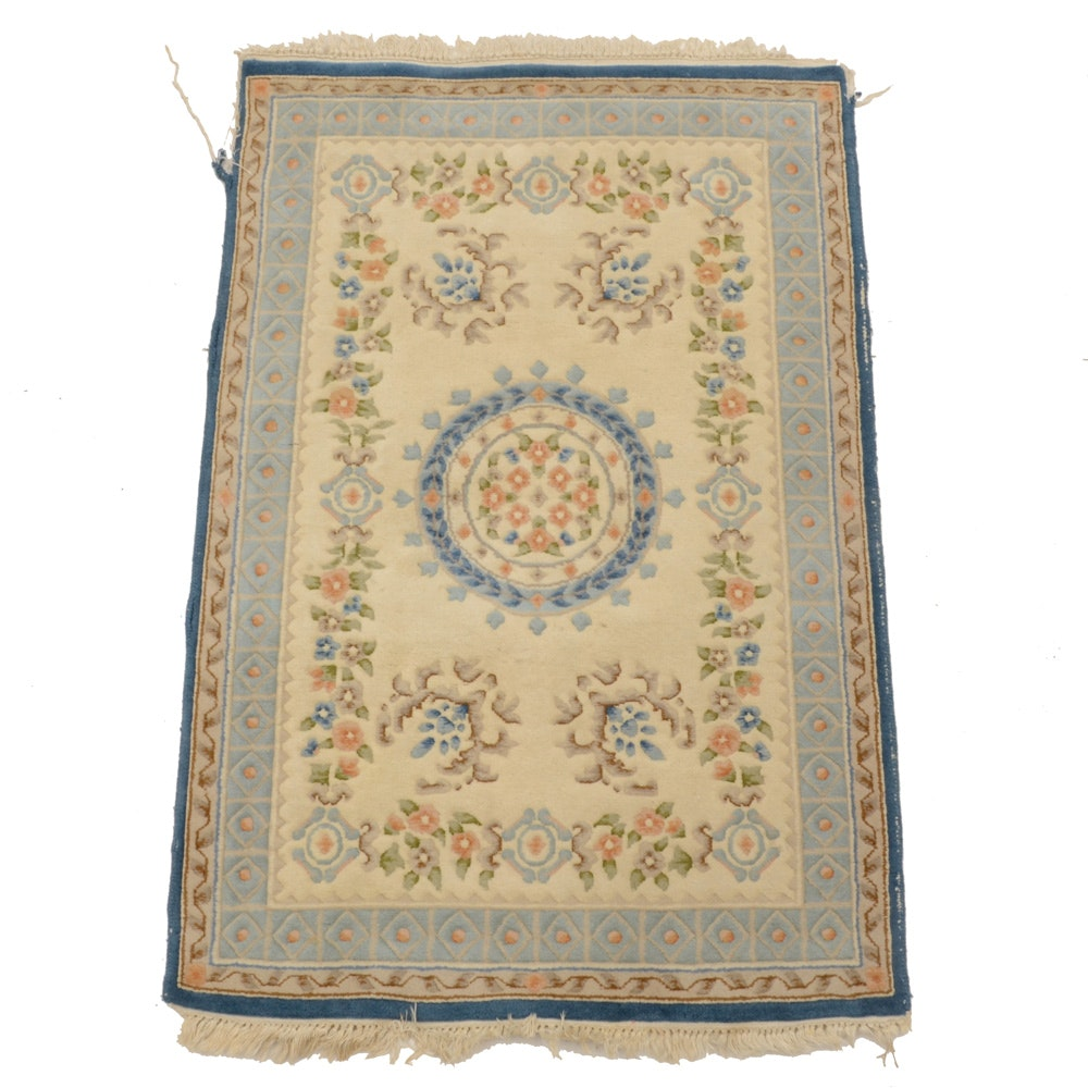 Hand-Knotted Chinese Wool Accent Rug