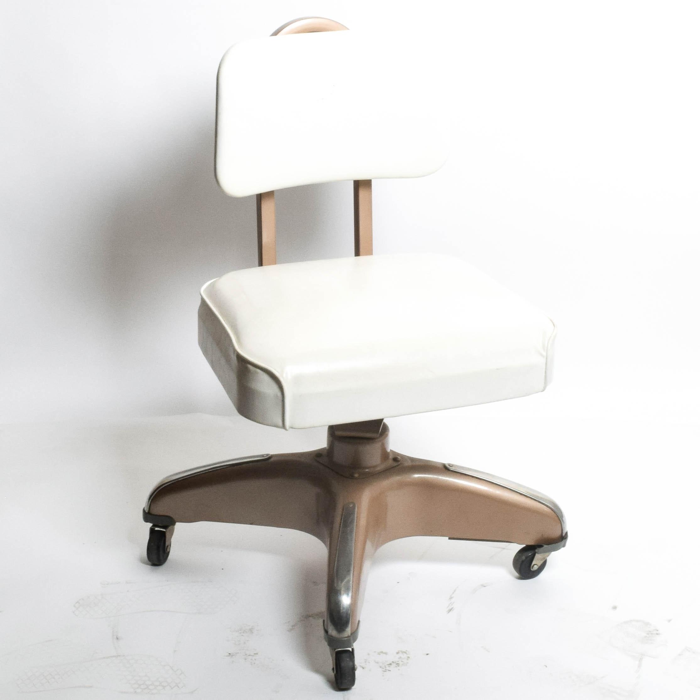 Mid Century Modern Cosco Office Chair in White Vinyl