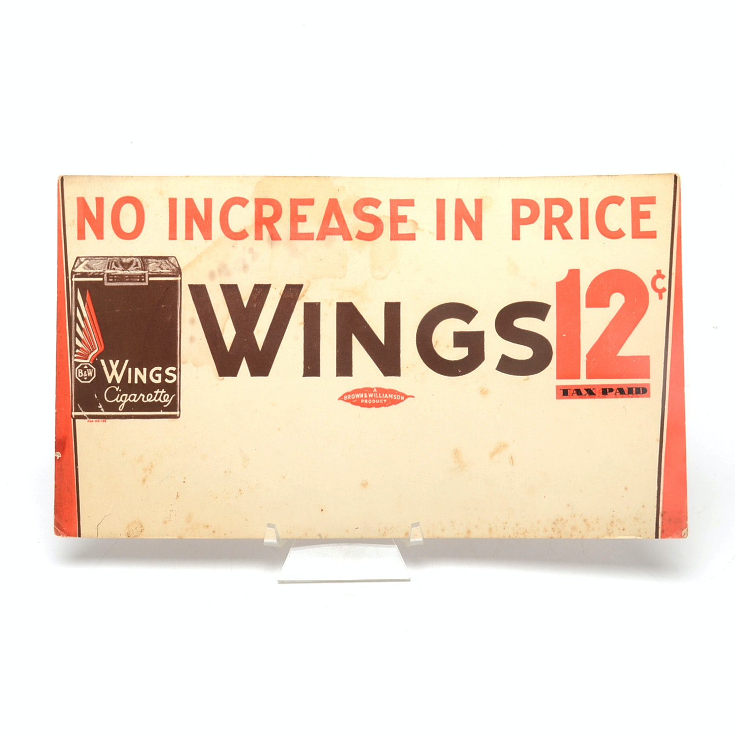 """1930s """"Wings Cigarettes"""" Cardboard Advertising Sign"""
