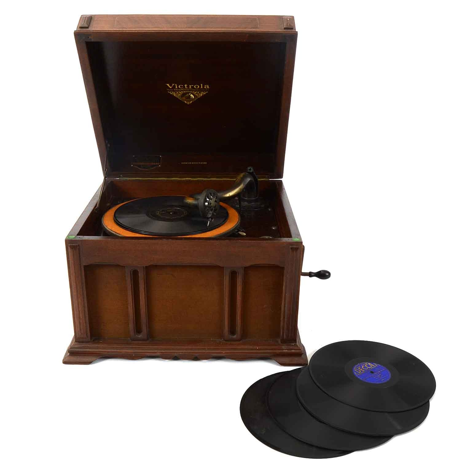Vintage Victrola Phonograph and Records