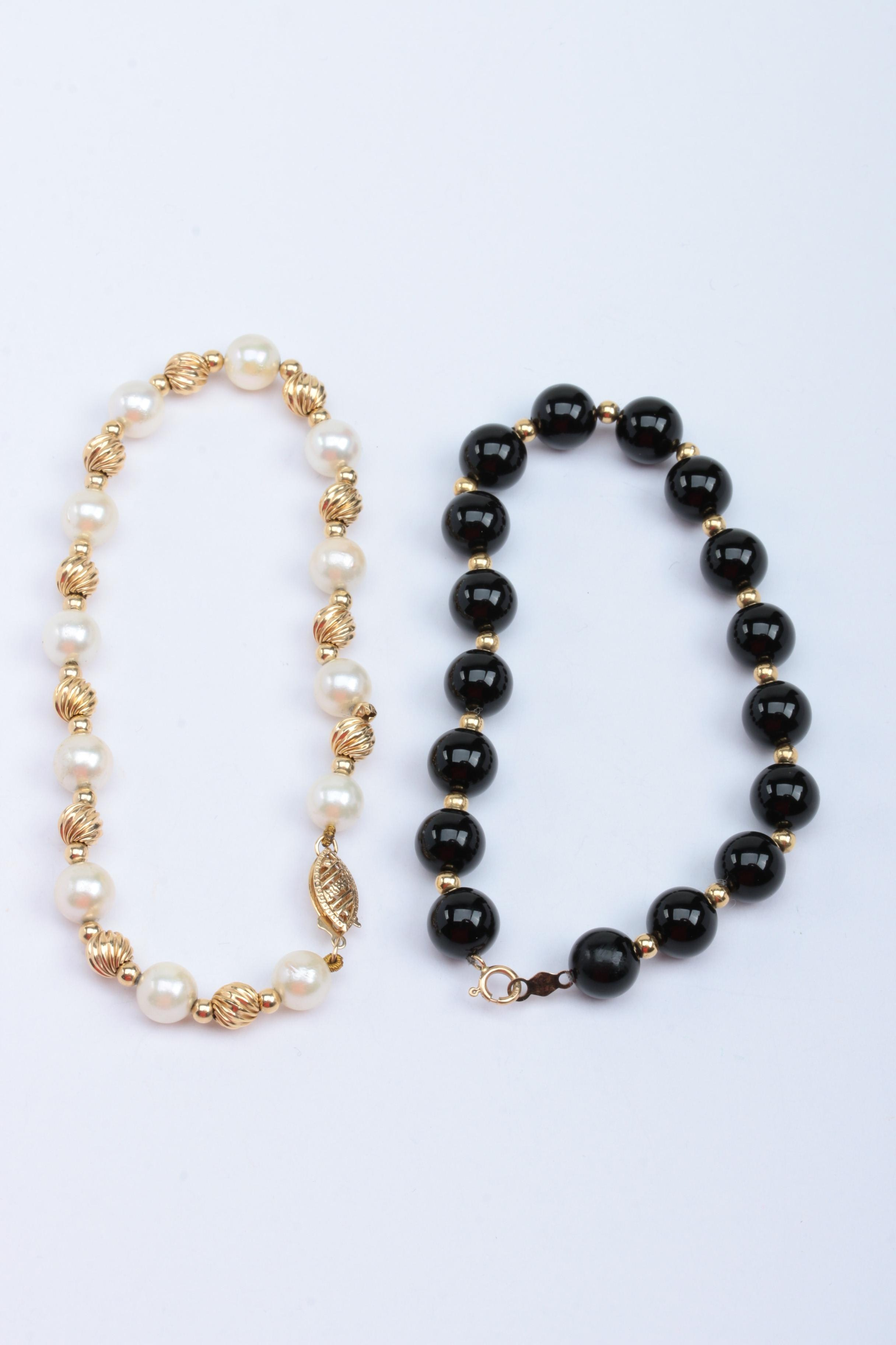 10K and 14K Yellow Gold Bracelets with Black Onyx and Cultured Pearls