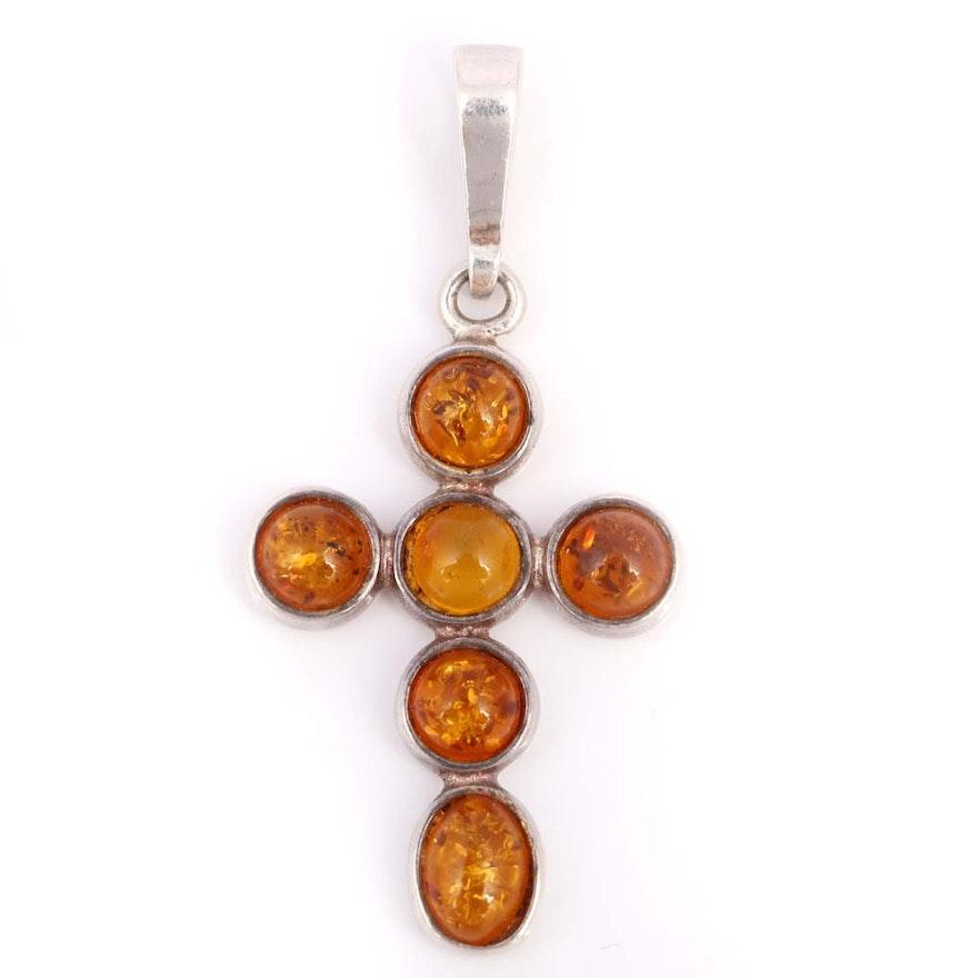 Sterling silver amber cross pendant ebth sterling silver amber cross pendant mozeypictures Gallery