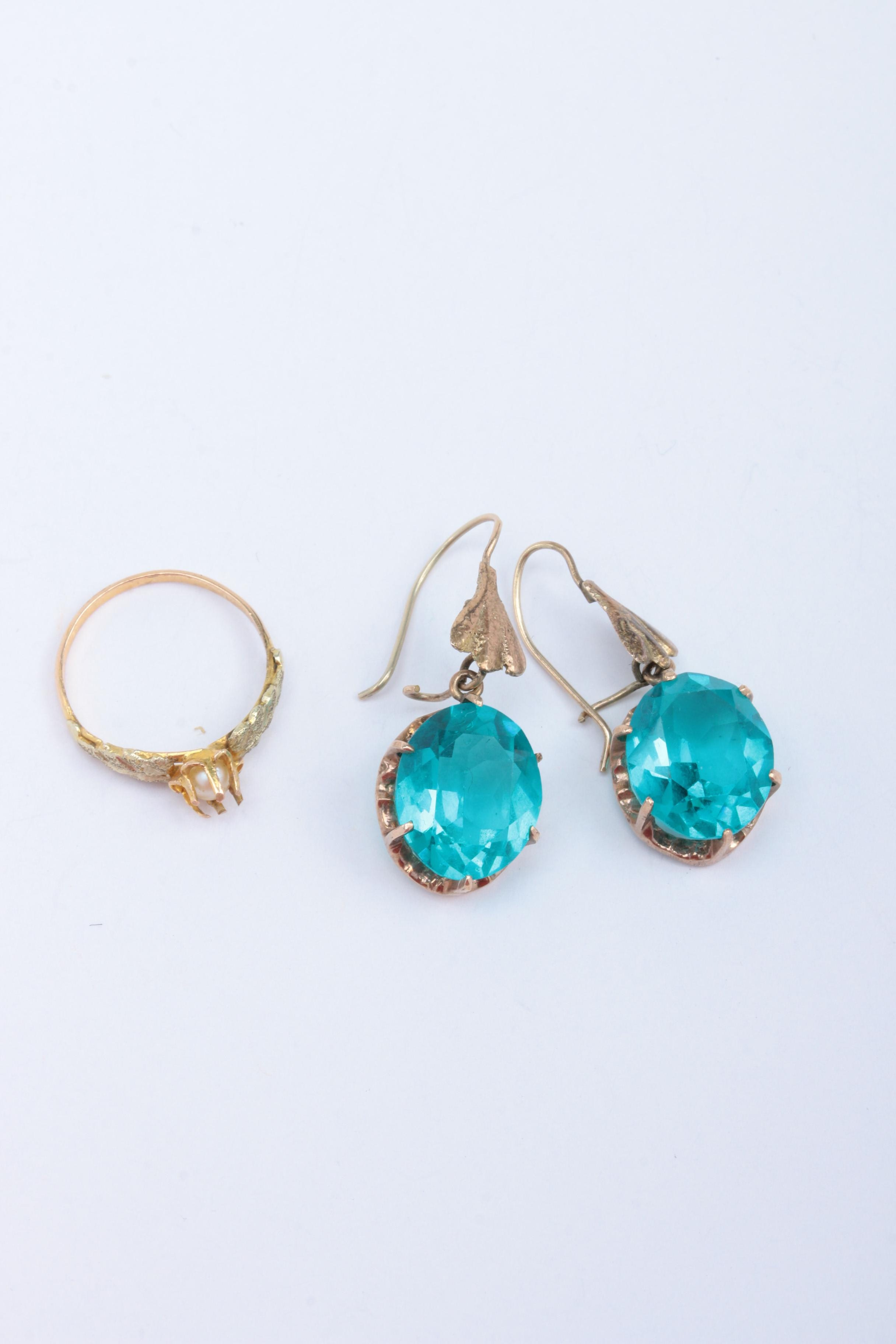 10K Yellow Gold Ring and Earrings