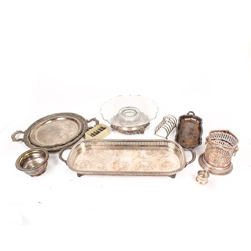 Israel Freeman & Son Silver Plate Pierced Champagne Cooler with Other Serveware
