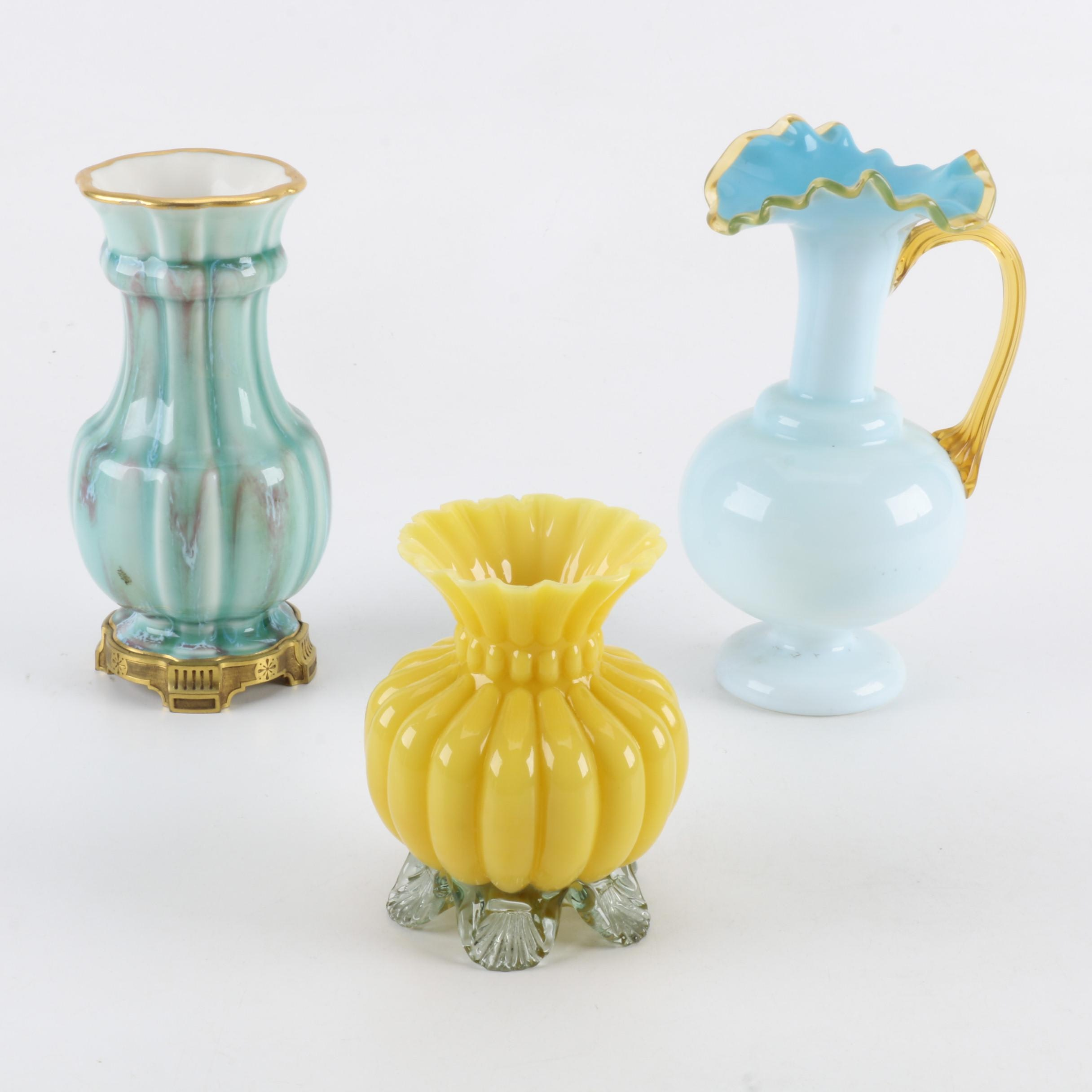 19th Century Doré a Sevres Vase and Art Glass Tableware
