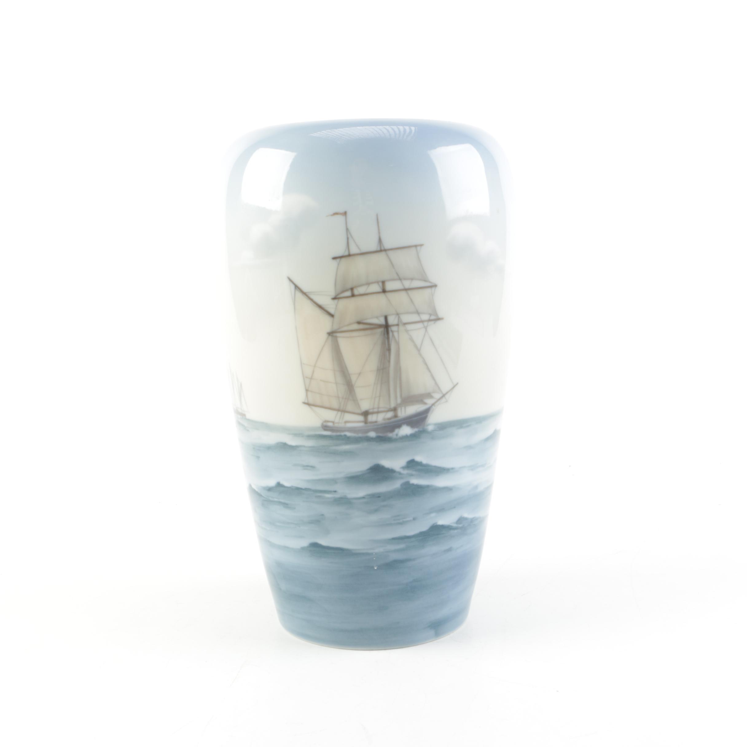 Big and Grøndahl Porcelain Sailing Ships Vase