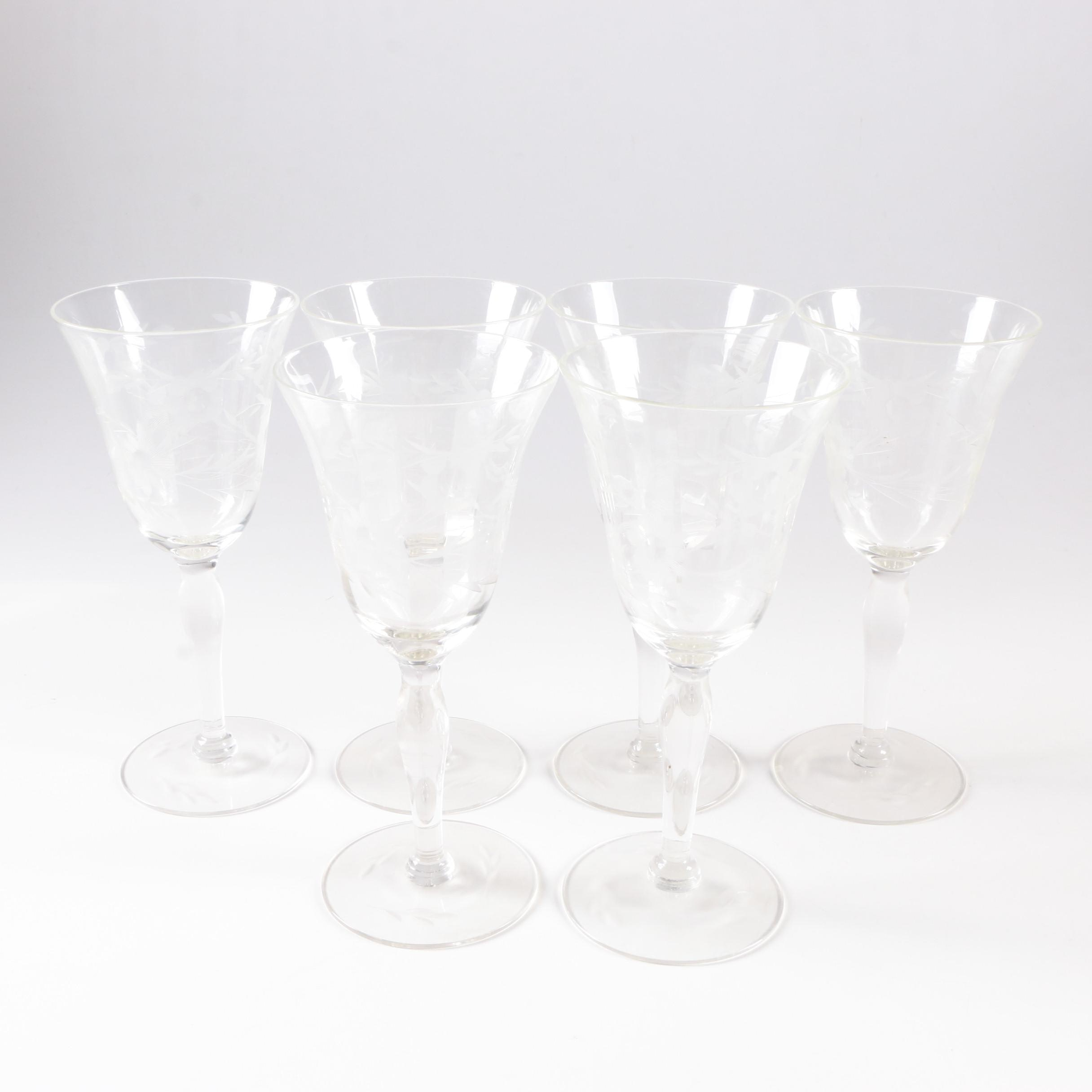 Set of Etched Sherry Glasses