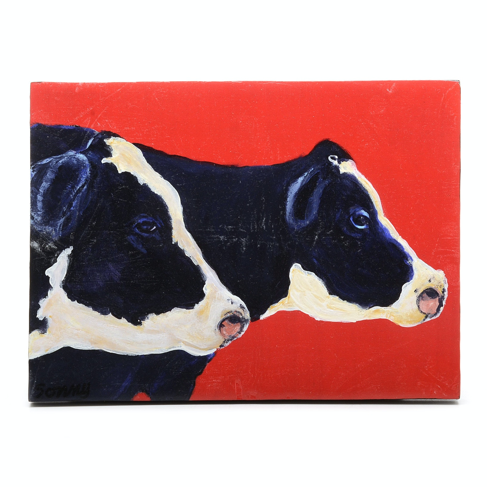 """Sonny Original 2017 Acrylic Painting on Board """"Cow Pals"""""""