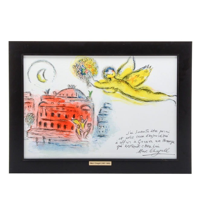 """Marc Chagall Hand-Pulled Lithograph """"Homage to Garnier"""""""
