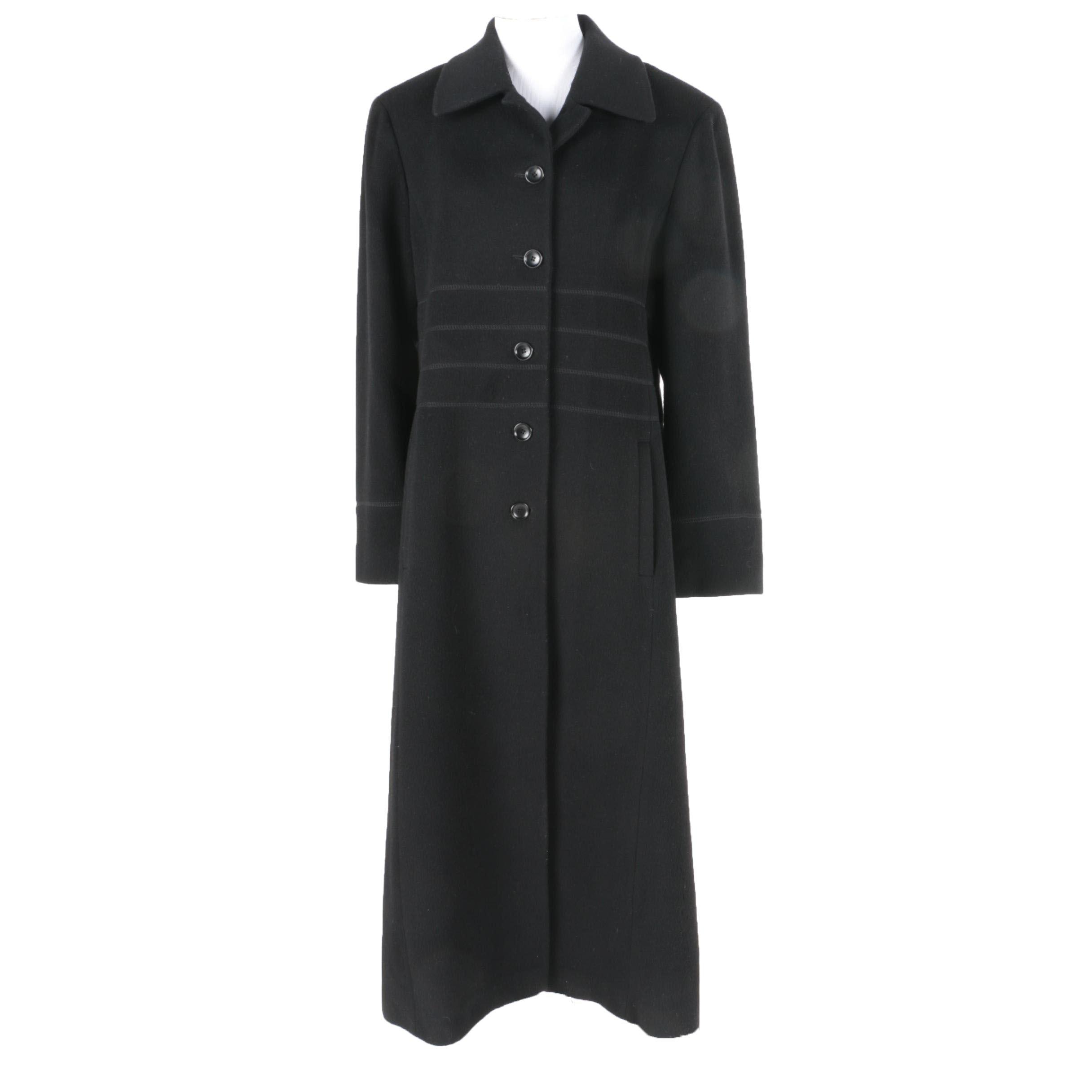 Women's Albert Nipon Black Wool Coat
