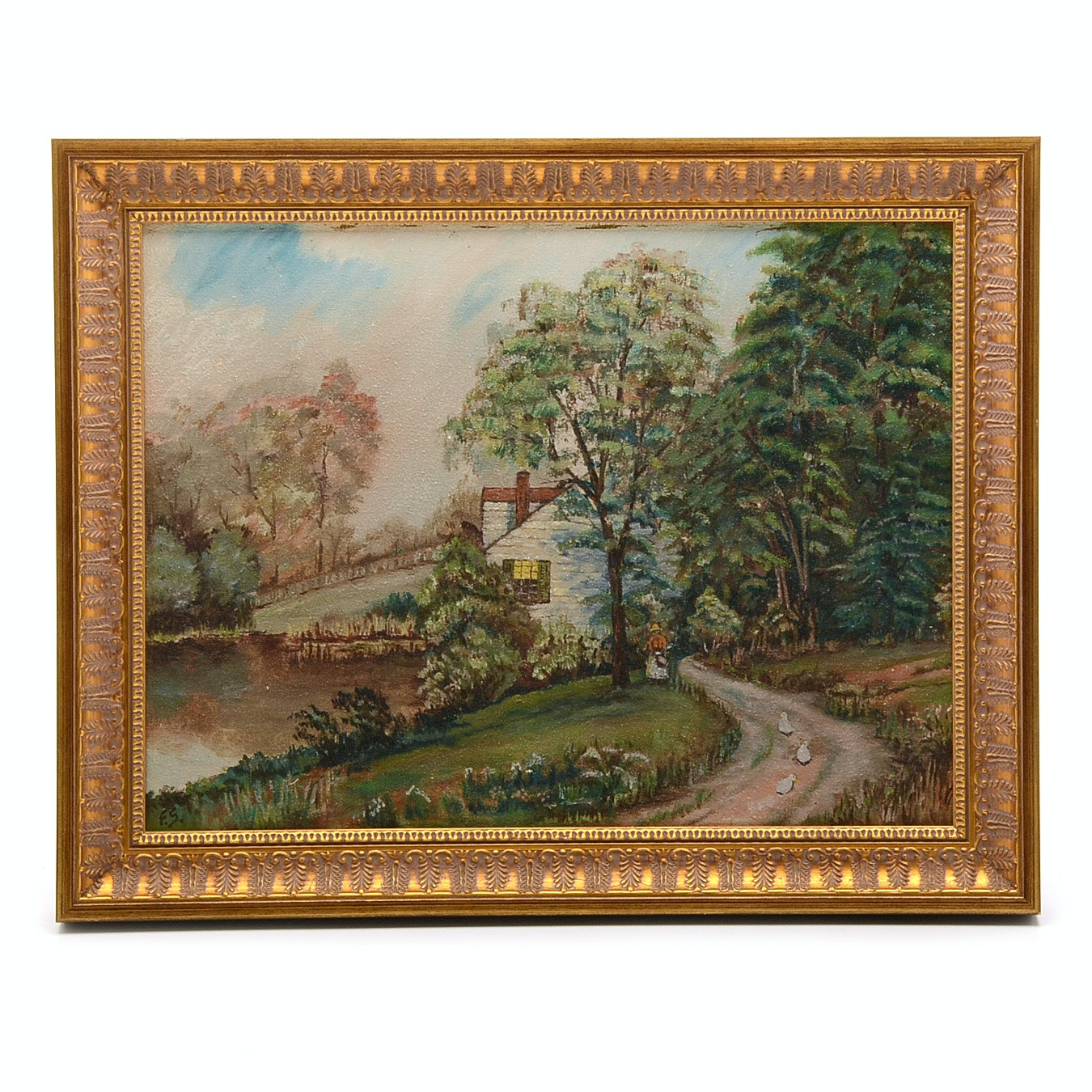 Signed Vintage Oil Painting on Canvas of Pastoral Scene