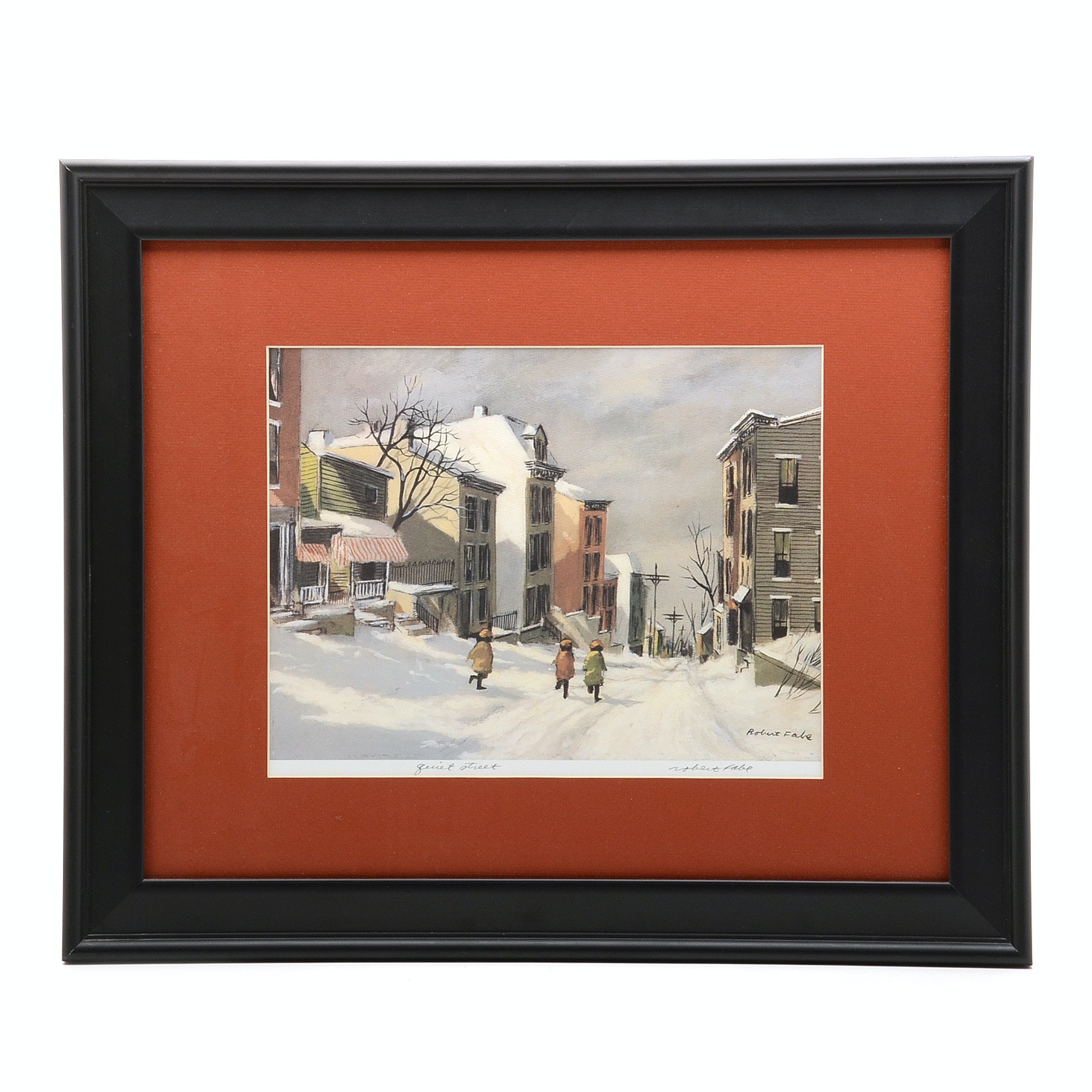 """Robert Fabe Signed Limited Edition Offset Lithograph """"Quiet Street"""""""