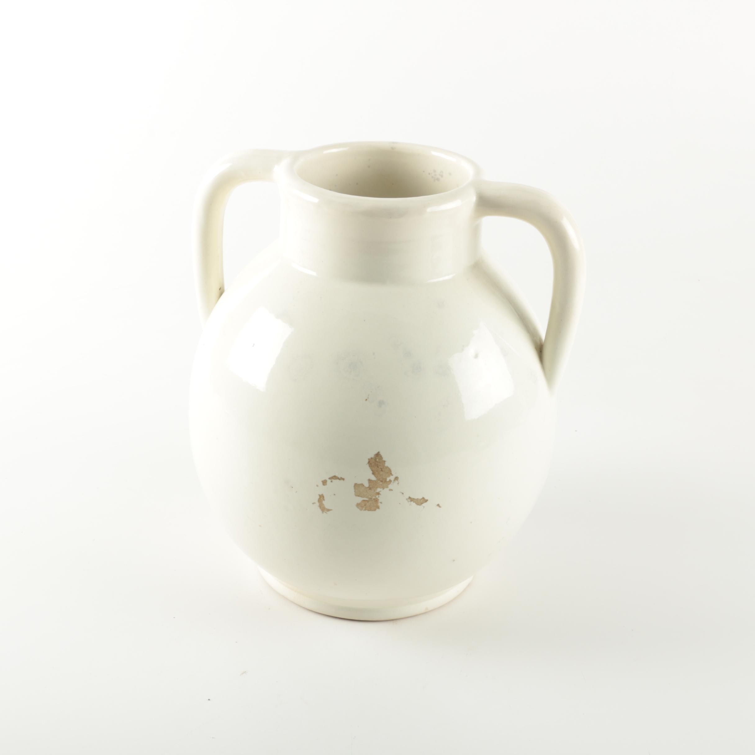 White Handled Vase