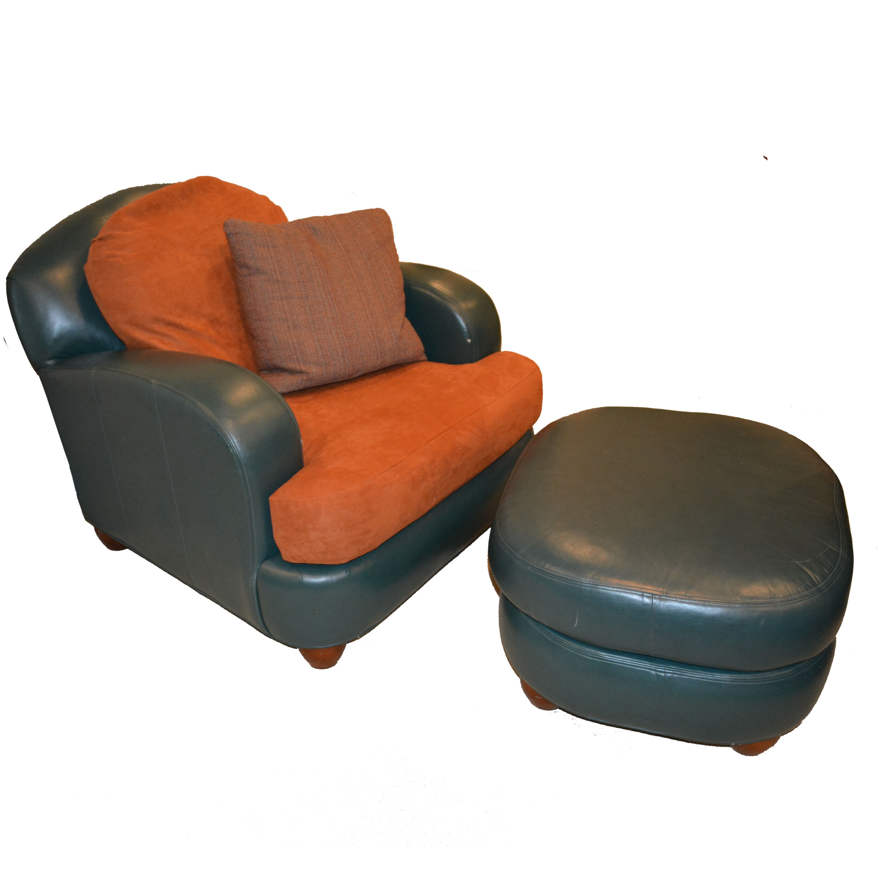 Teal Leather Club Chair and Ottoman by Ethan Allen