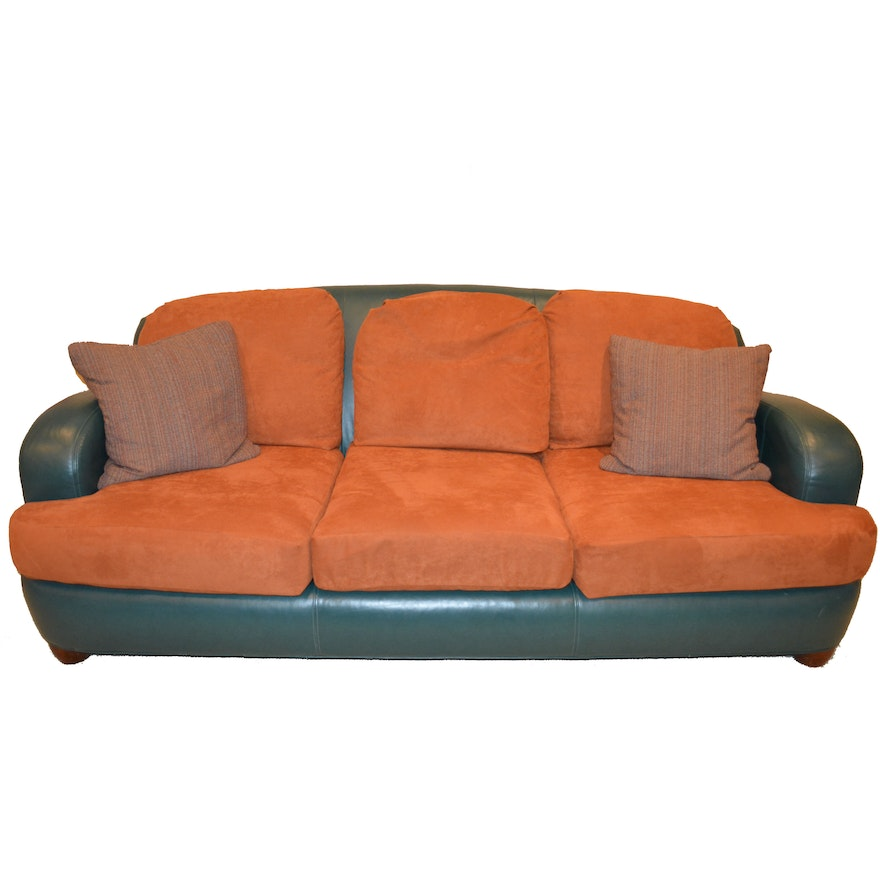 Teal Leather Sofa By Ethan Allen With Sienna Suede Cushions