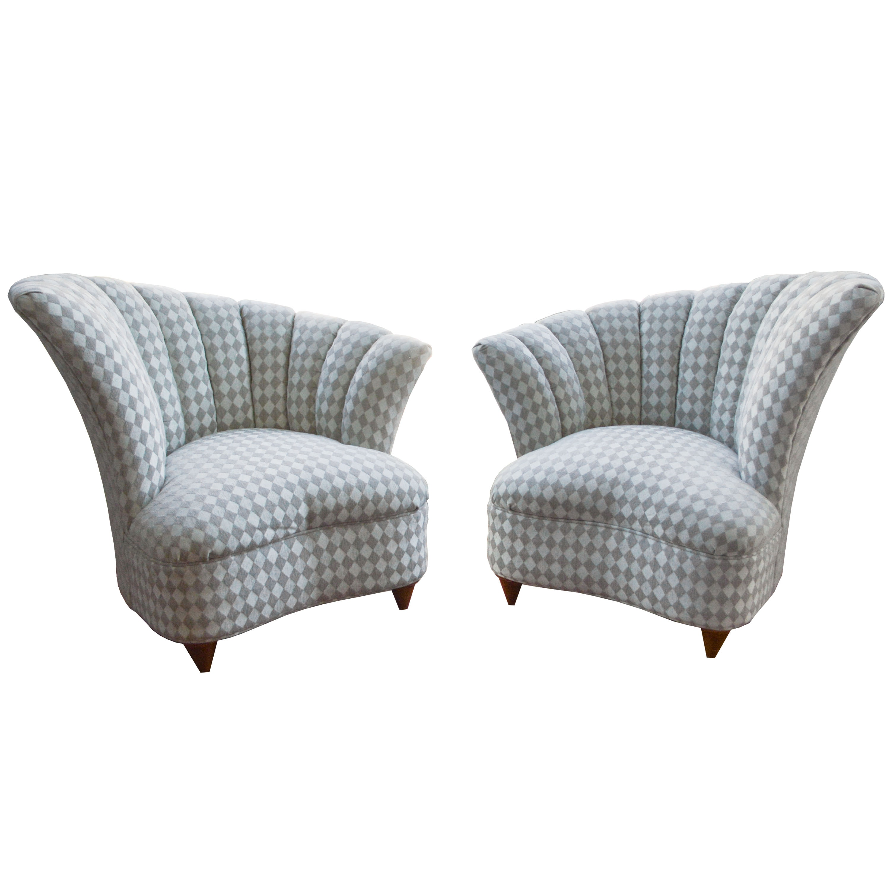 Pair of Deco Revival Style Lounge Chairs
