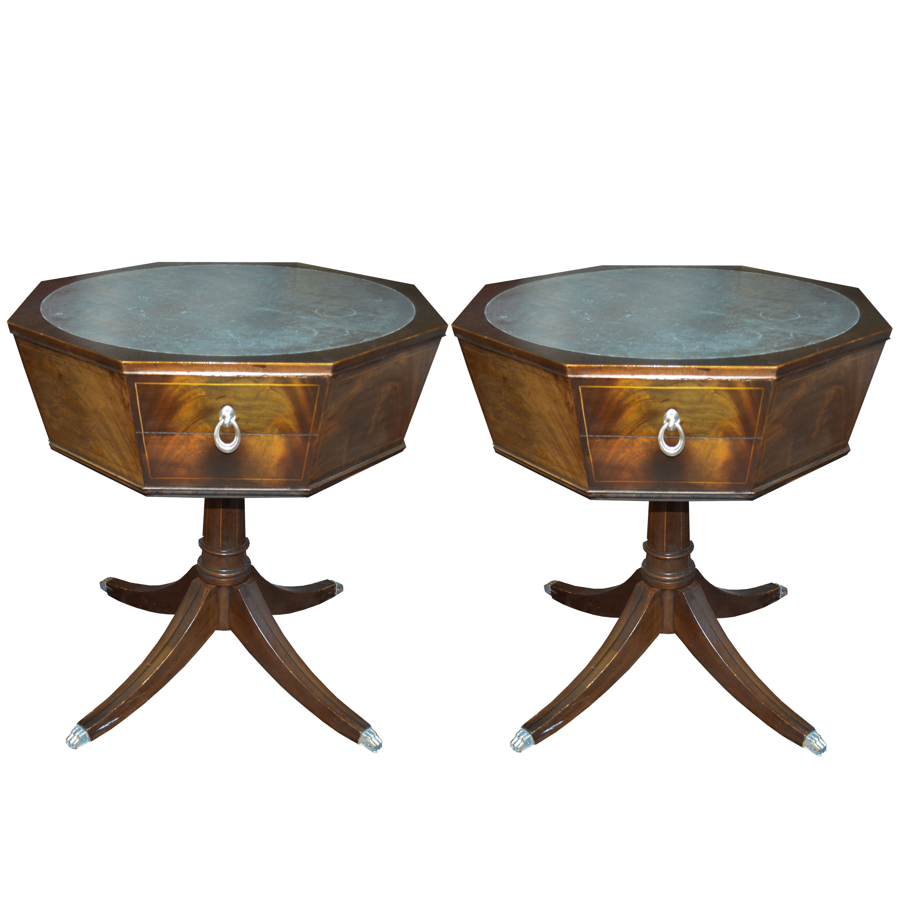 Pair of Circa 1940s Flamed Mahogany Drum Tables