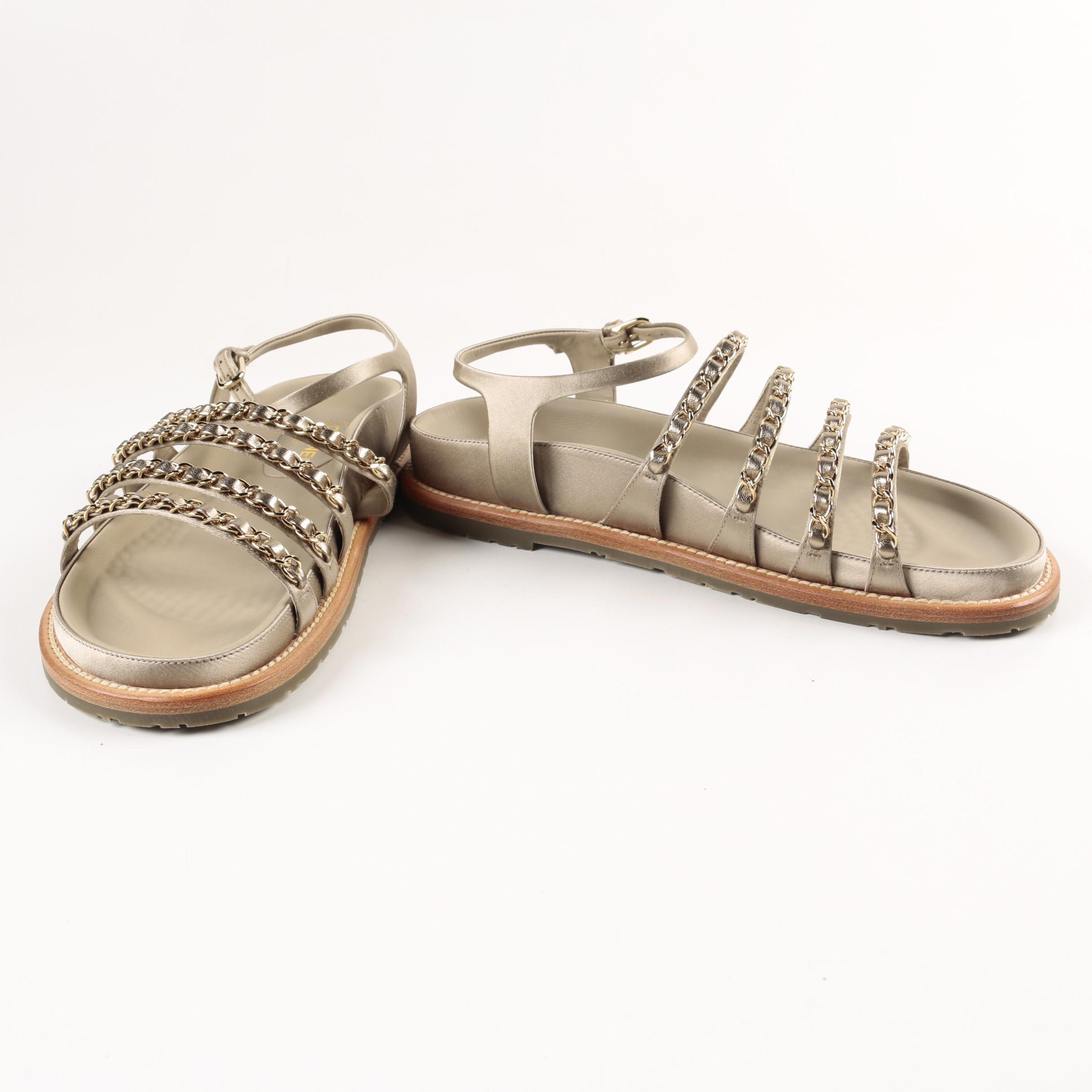 Chanel Beige Leather Chain Strap Sandals