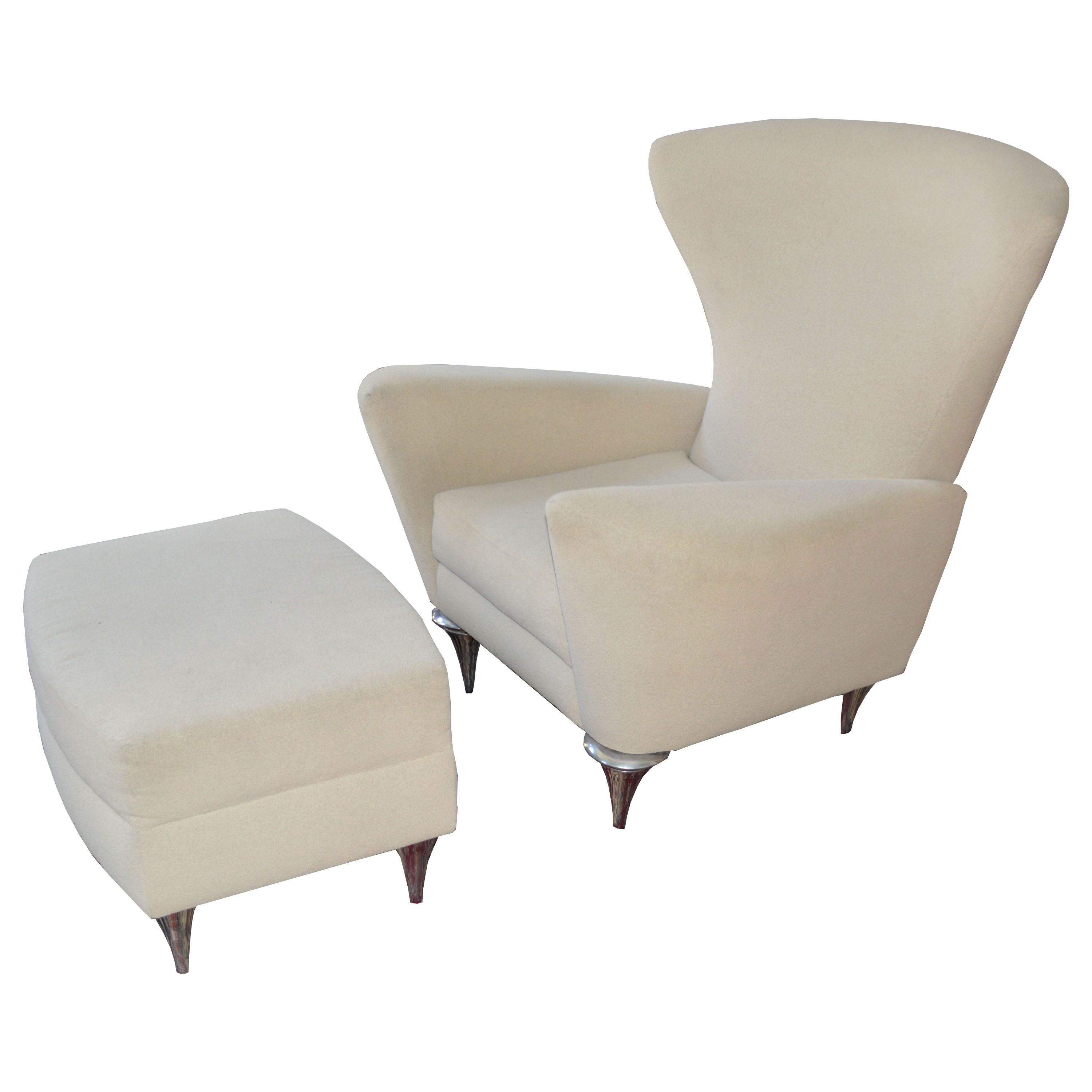 Contemporary Modern Lounge Chair and Ottoman by Theodore's