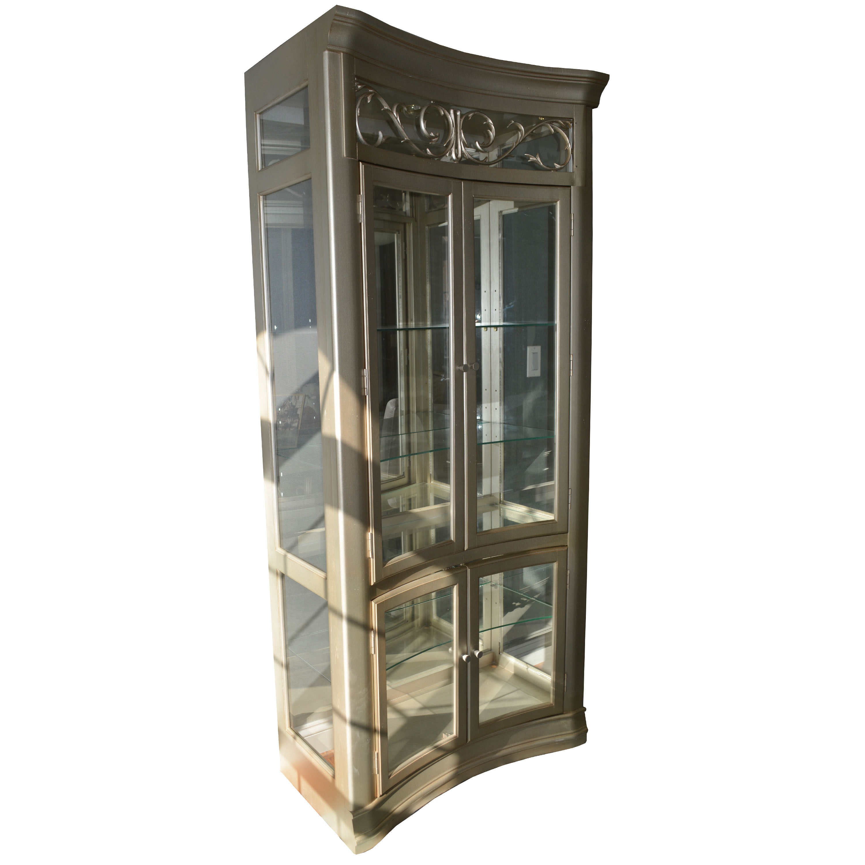 Metallic Silver Concave Front China Cabinet