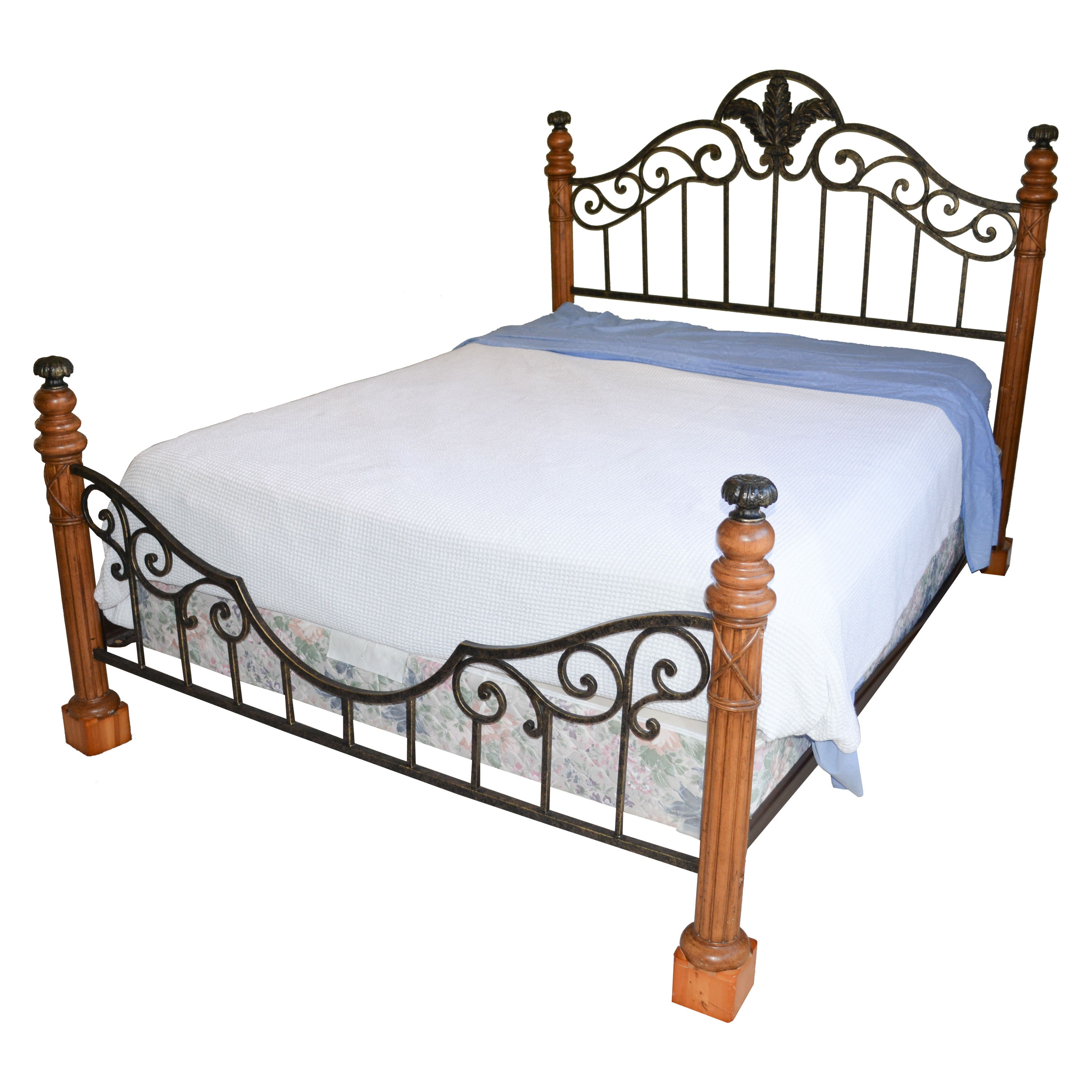 Contemporary Maple and Wrought Iron Queen-Size Bed Frame