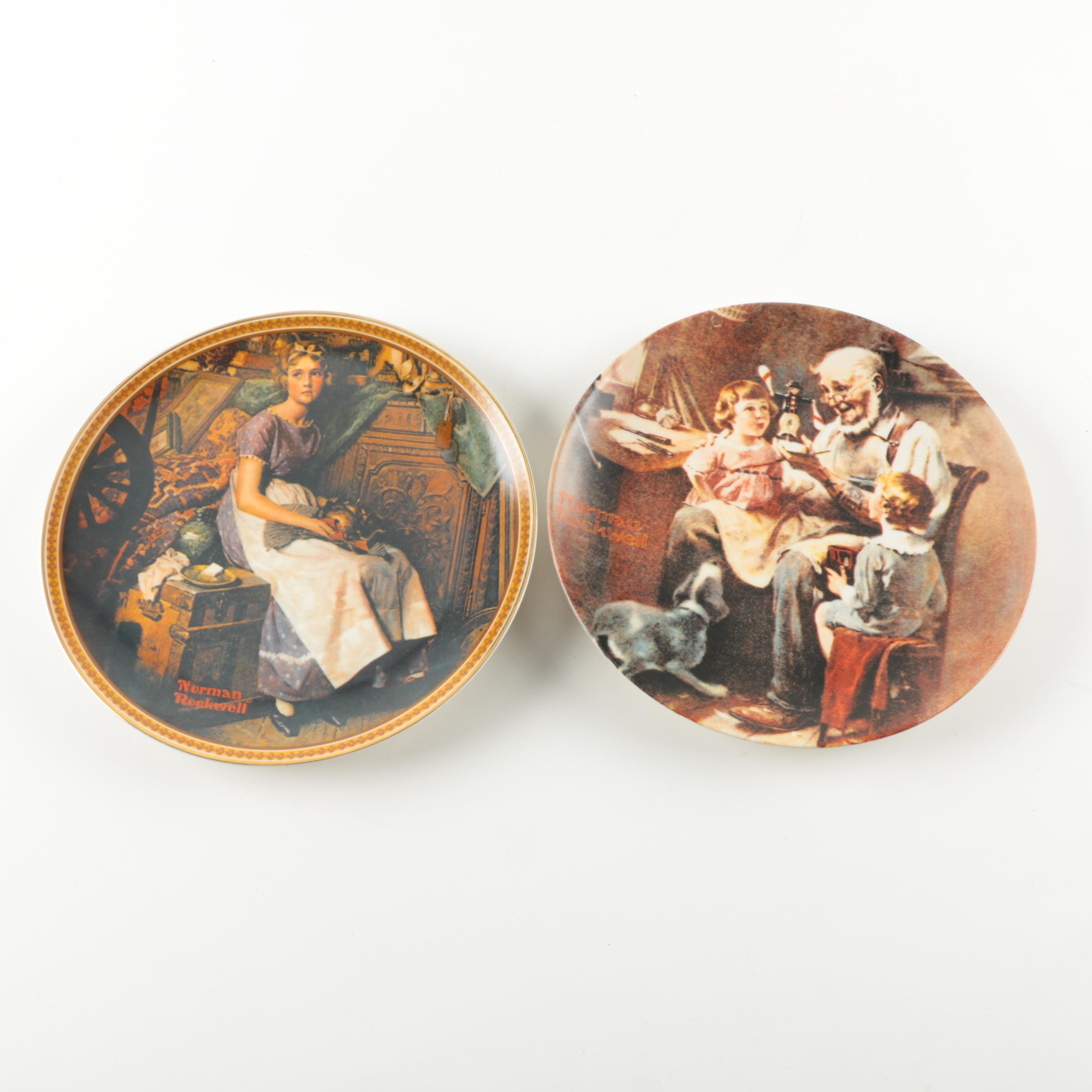 Pair Knowles Limited Edition Norman Rockwell Plates