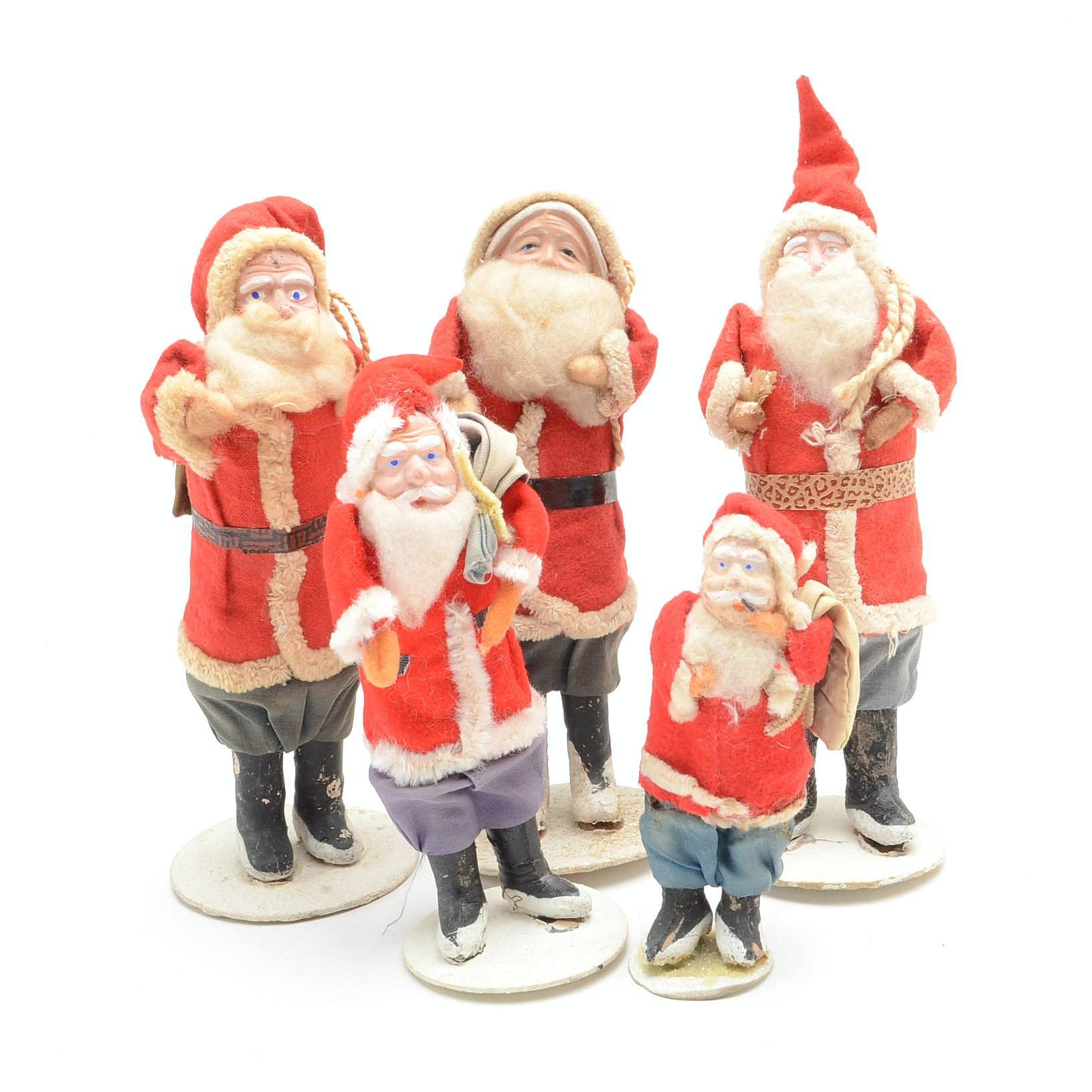 Vintage Japanese Papier-Mâché Santa Claus Figurines