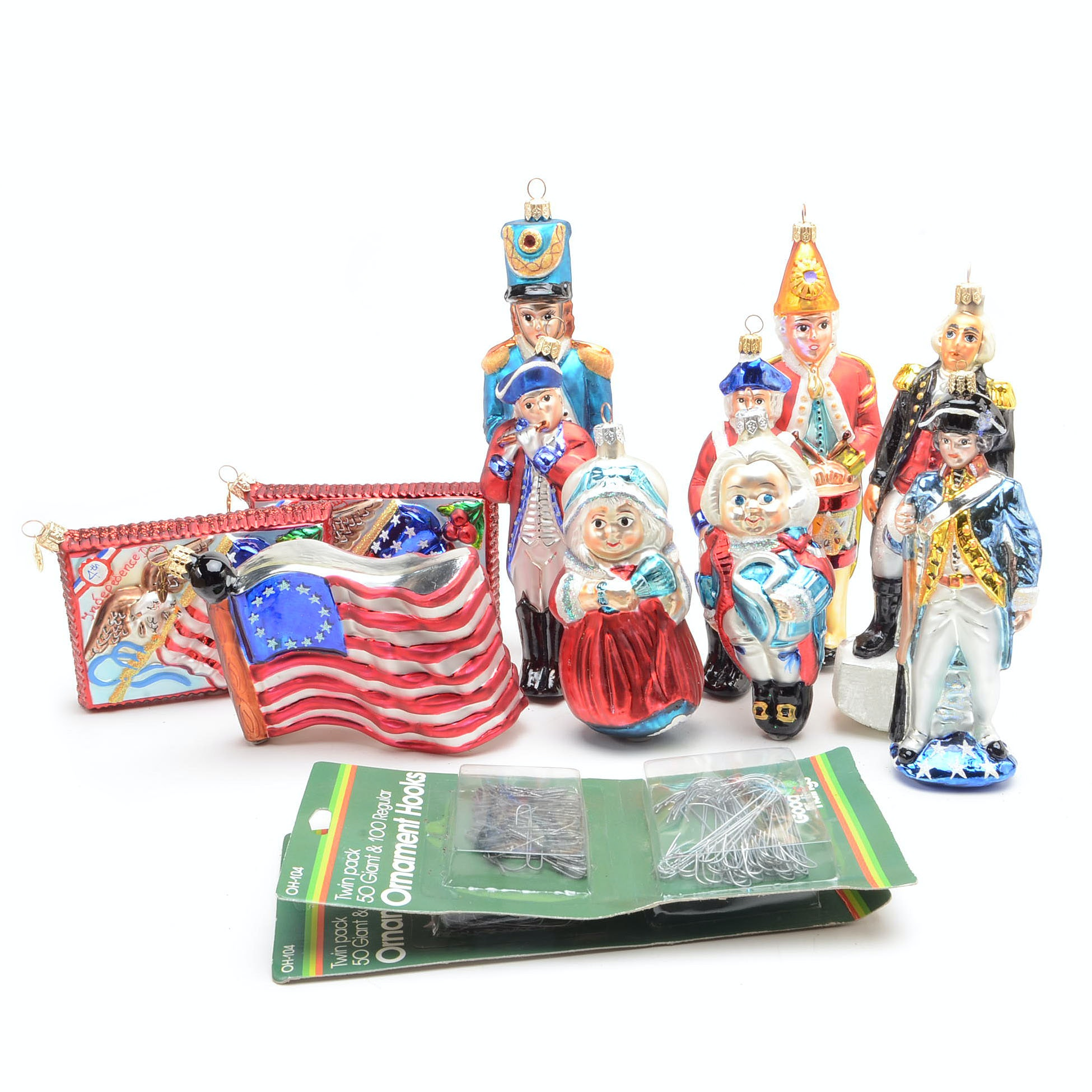 Collection of Christopher Radko Patriotc Christmas Ornaments