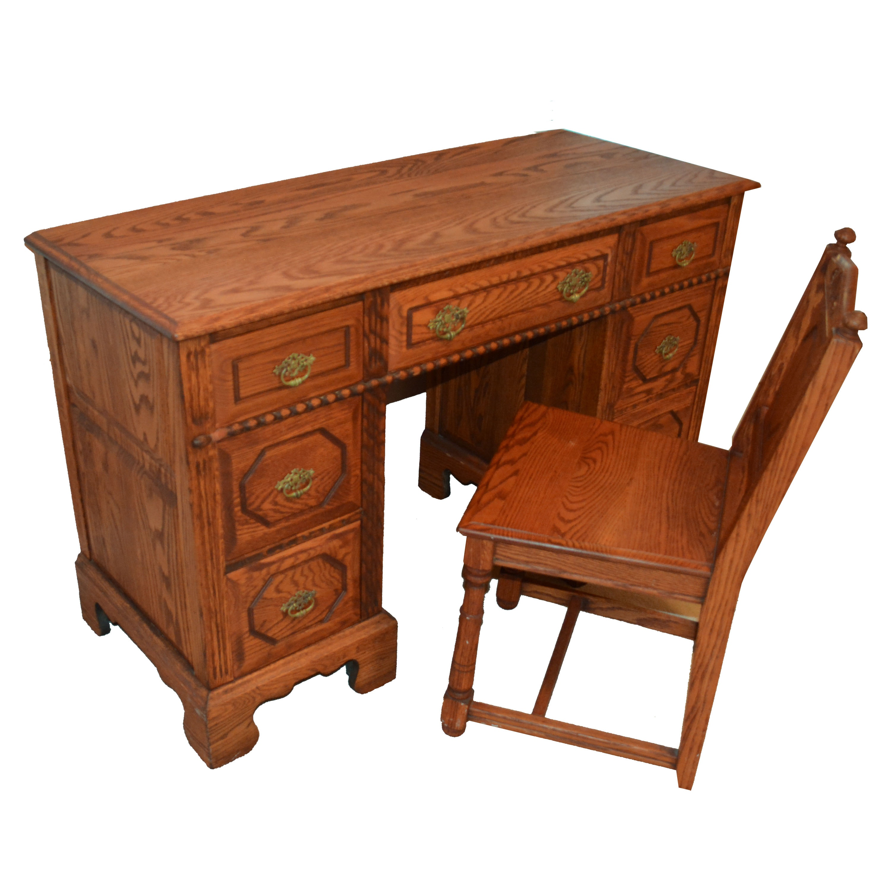 Vintage Solid Oak Knee-Hole Desk With Chair