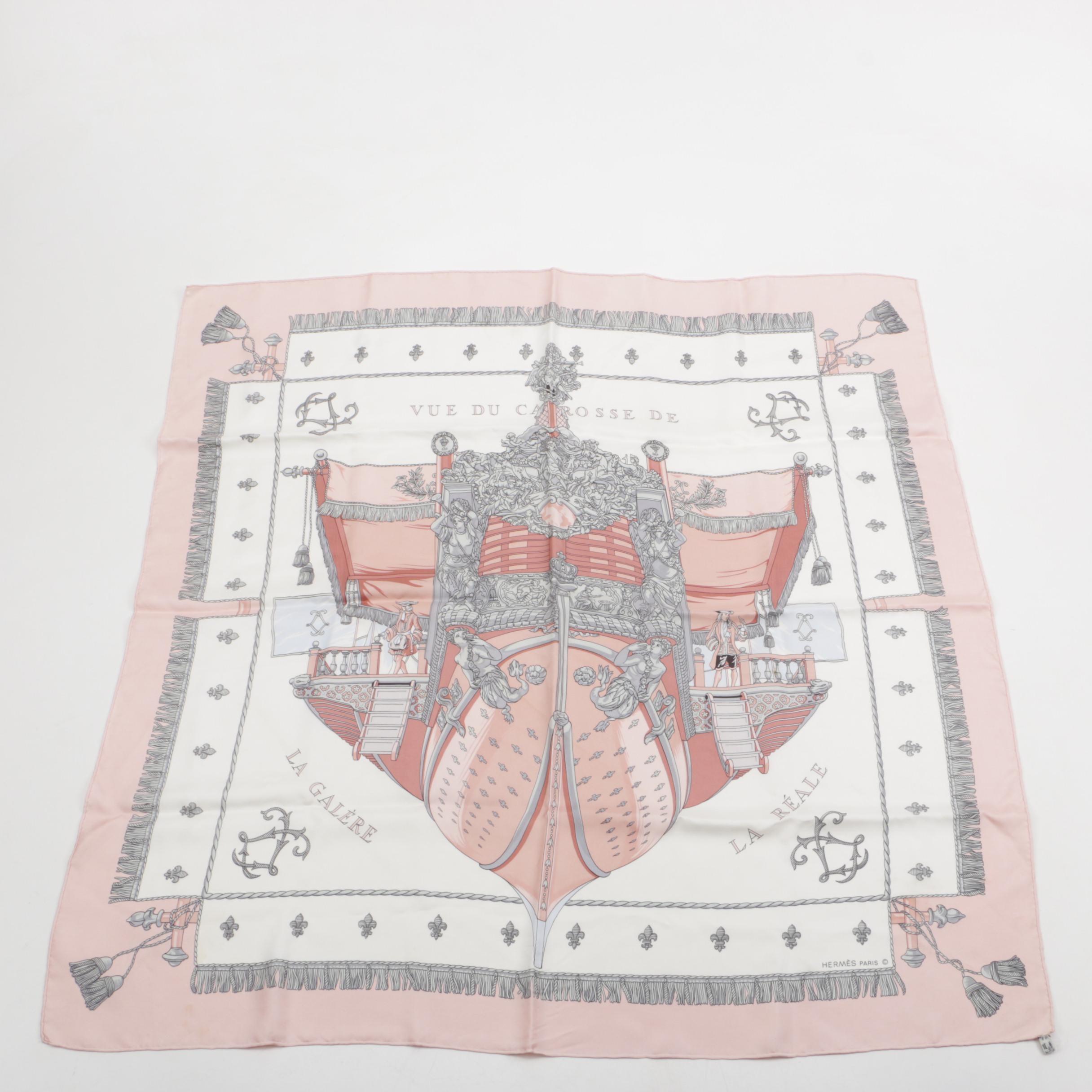 Hermès of Paris Vue Du Carrosse De La Reale Silk Scarf