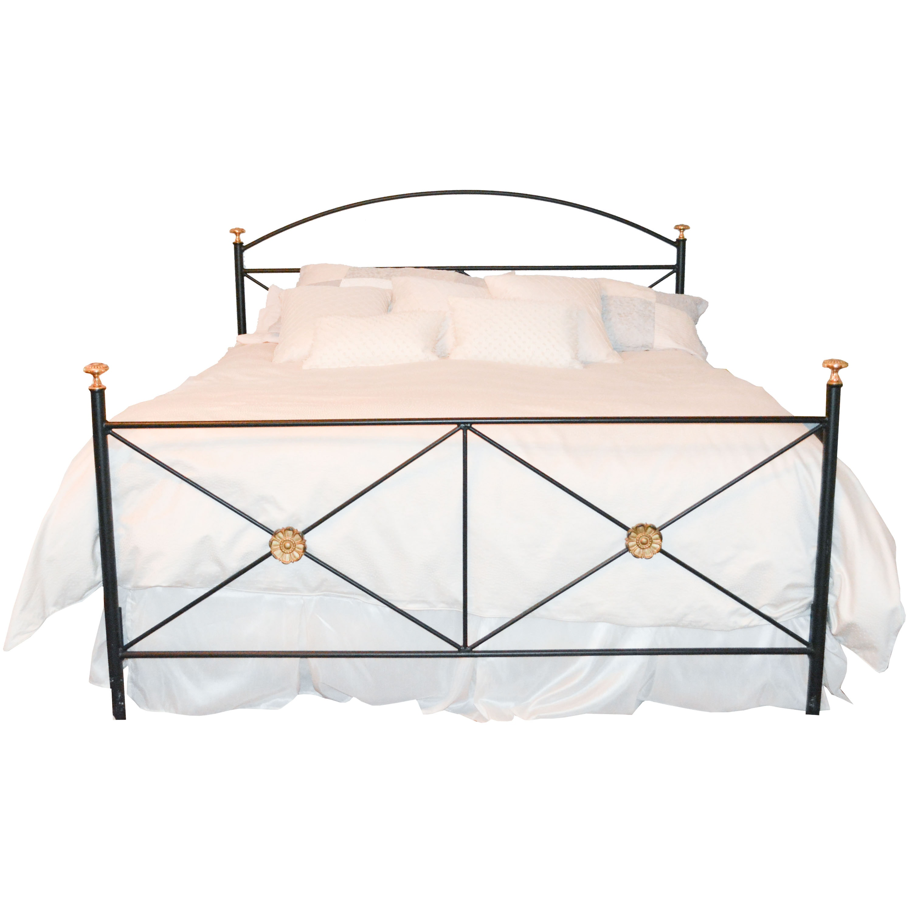 Queen Sized Black Metal Bed Frame with Gold Tone Accents