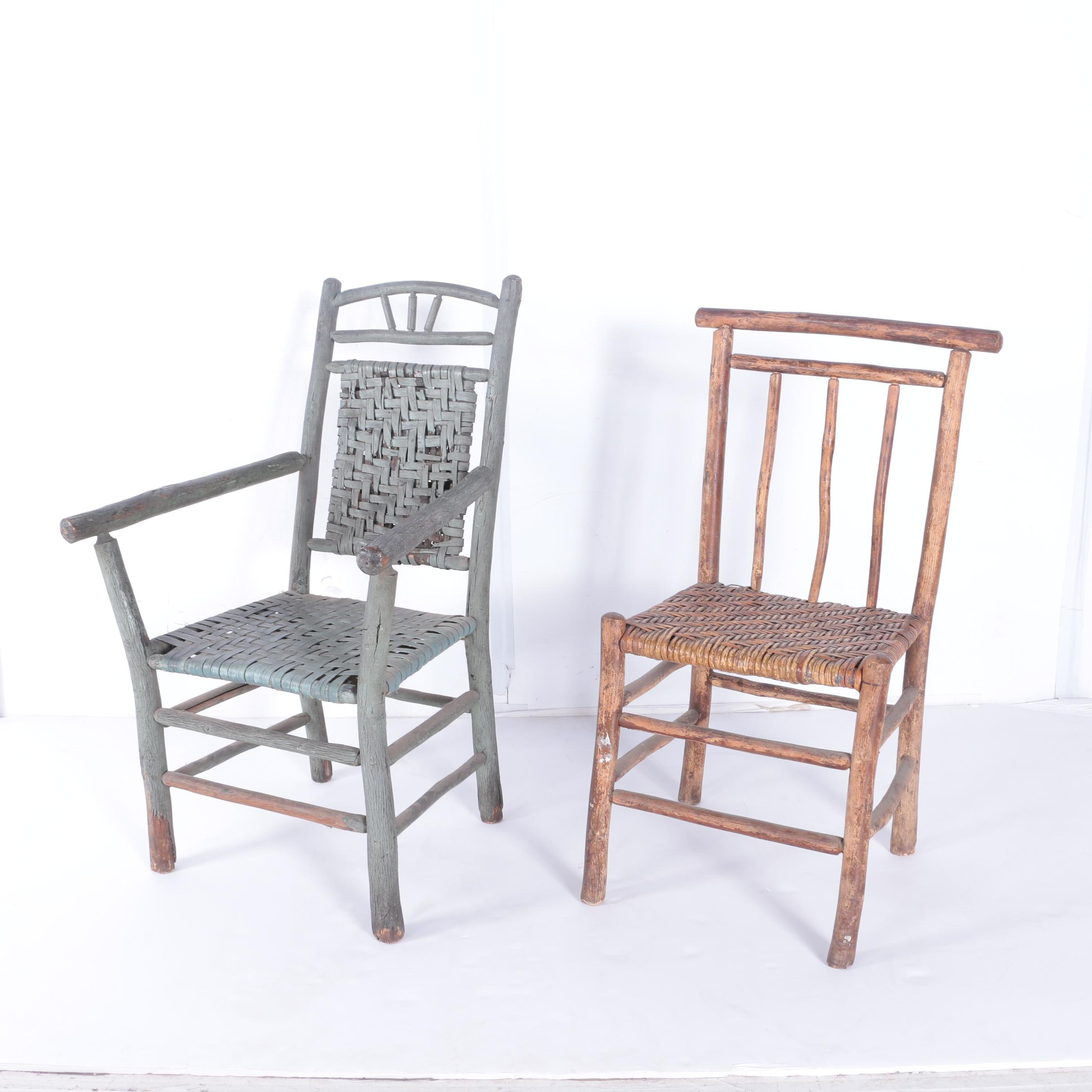 Rustic Wooden Chairs With Woven Seats