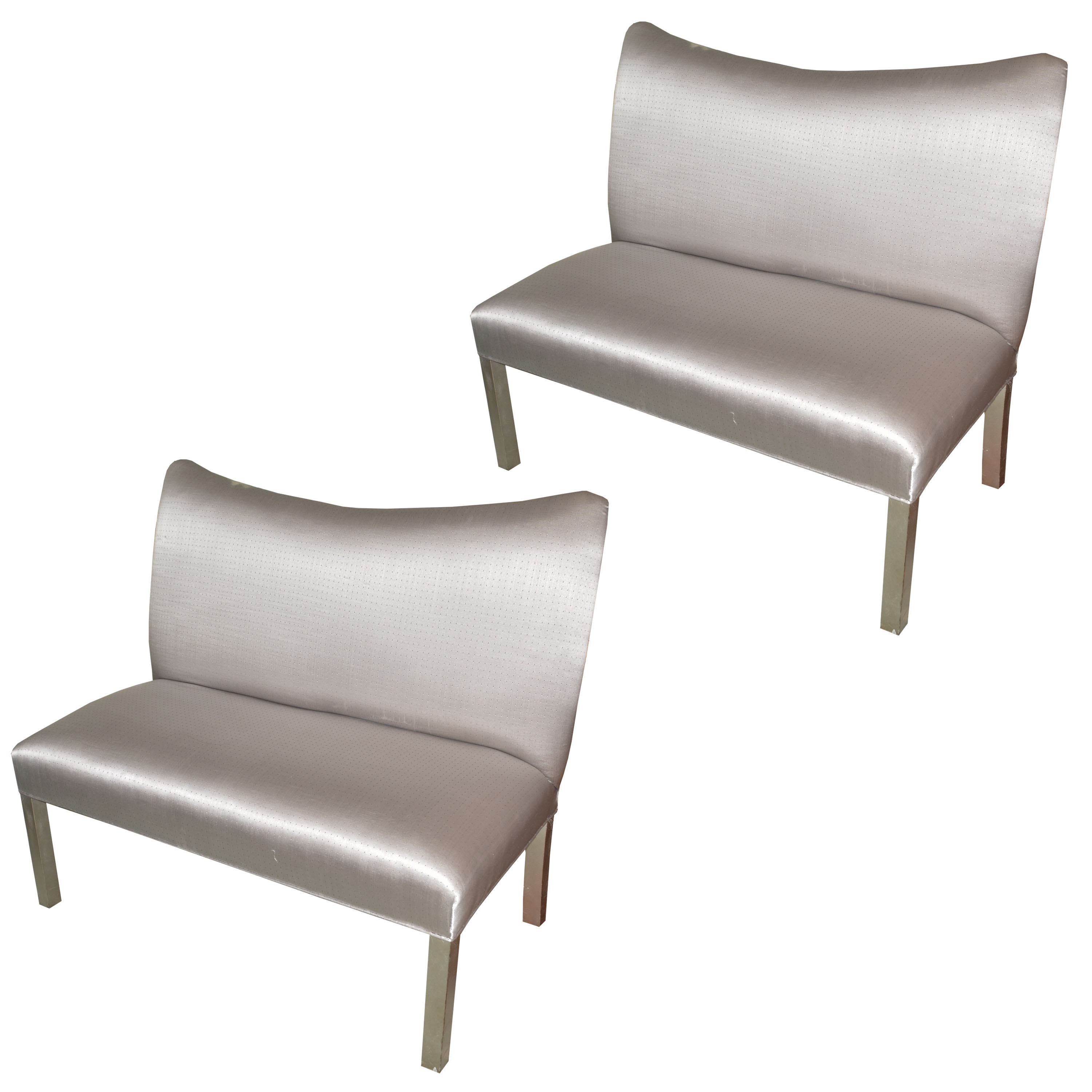 Pair of Silver Contemporary Loveseats