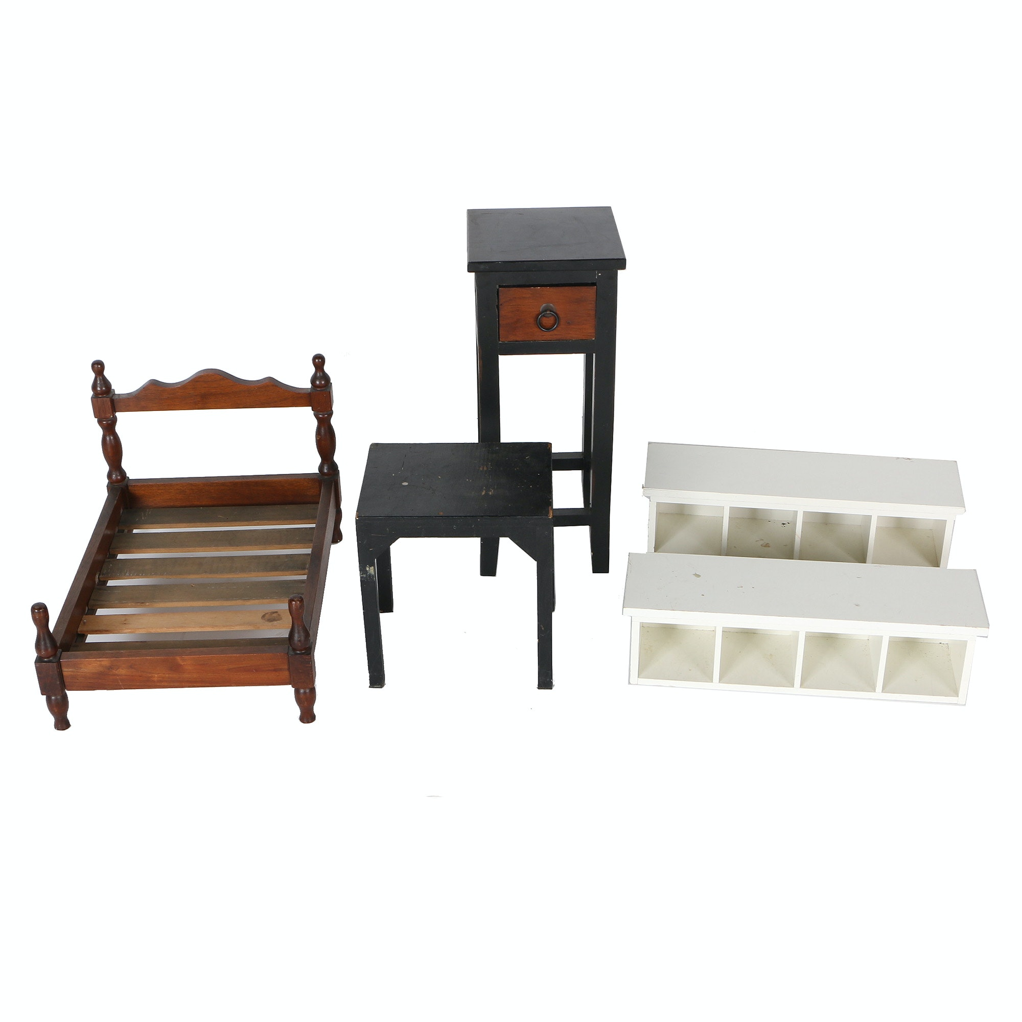 Miniature Furniture Including Mahogany Bed Frame