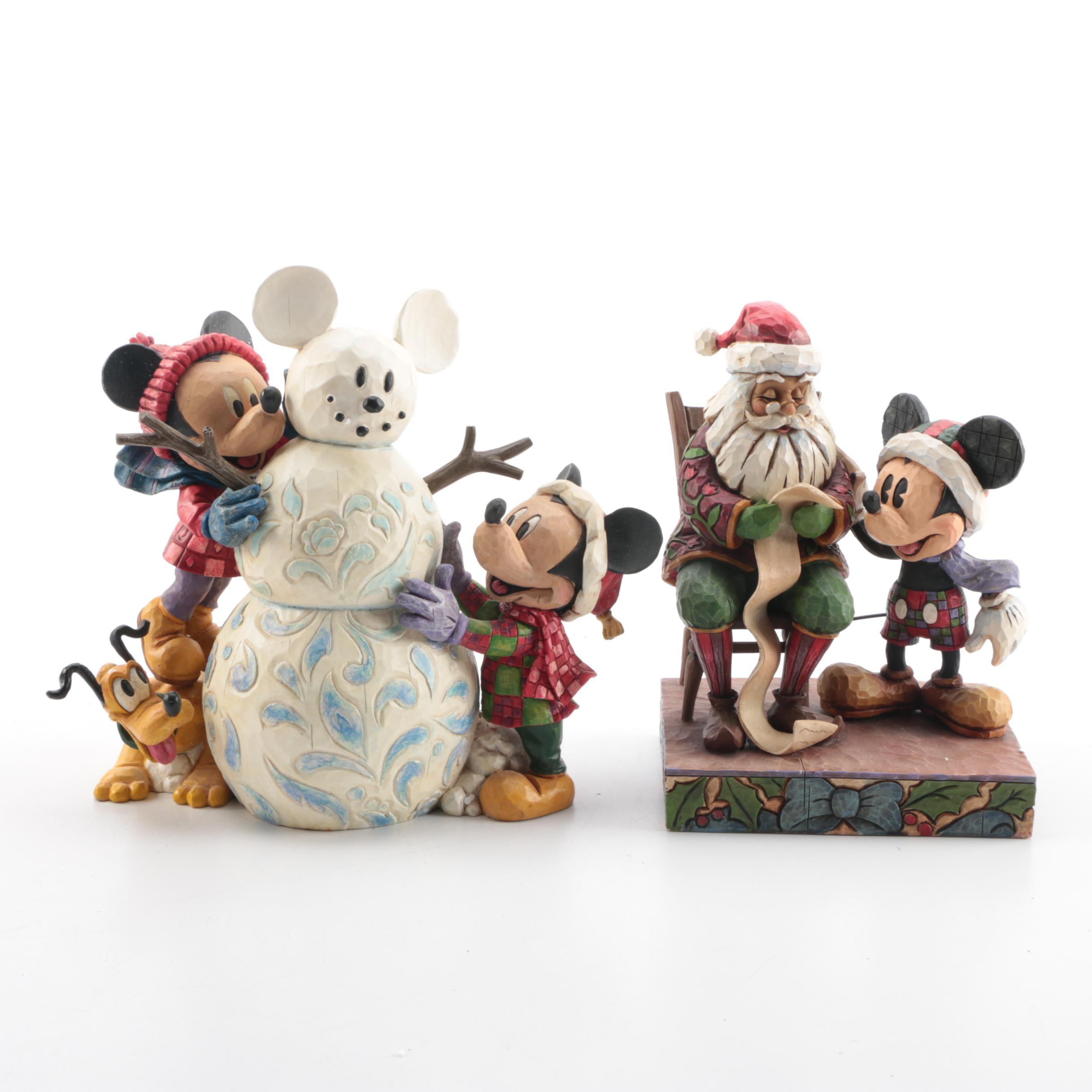 Pair of Jim Shore for Enesco Walt Disney Showcase Collection Christmas Figurines