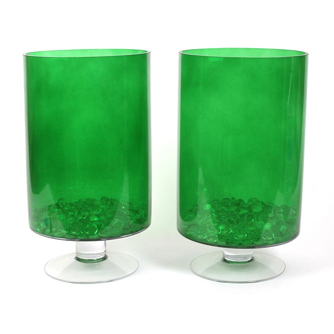 Pair of Green Glass Candle Holders