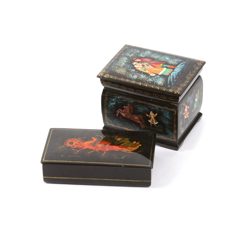Russian Lacquered and Hand-Painted Trinket Boxes